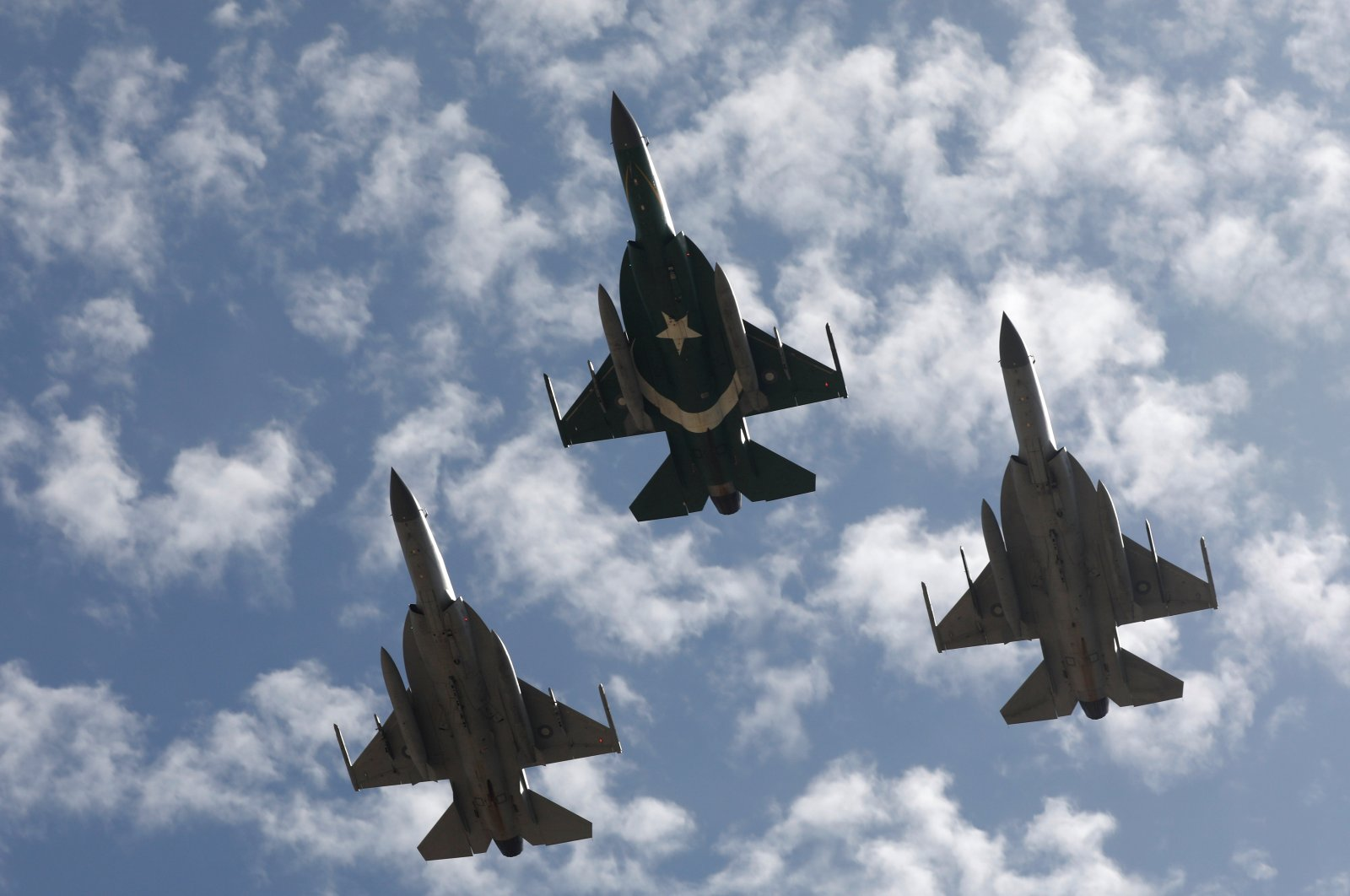 Pakistan Air Force (PAF) JF-17 Thunder jets perform to commemorate Pakistan Air Force's 'Operation Swift Retort', following the shot down of Indian military aircrafts on February 27, 2019 in Kashmir, during an air show in Karachi, Pakistan February 27, 2020. (Reuters Photo)