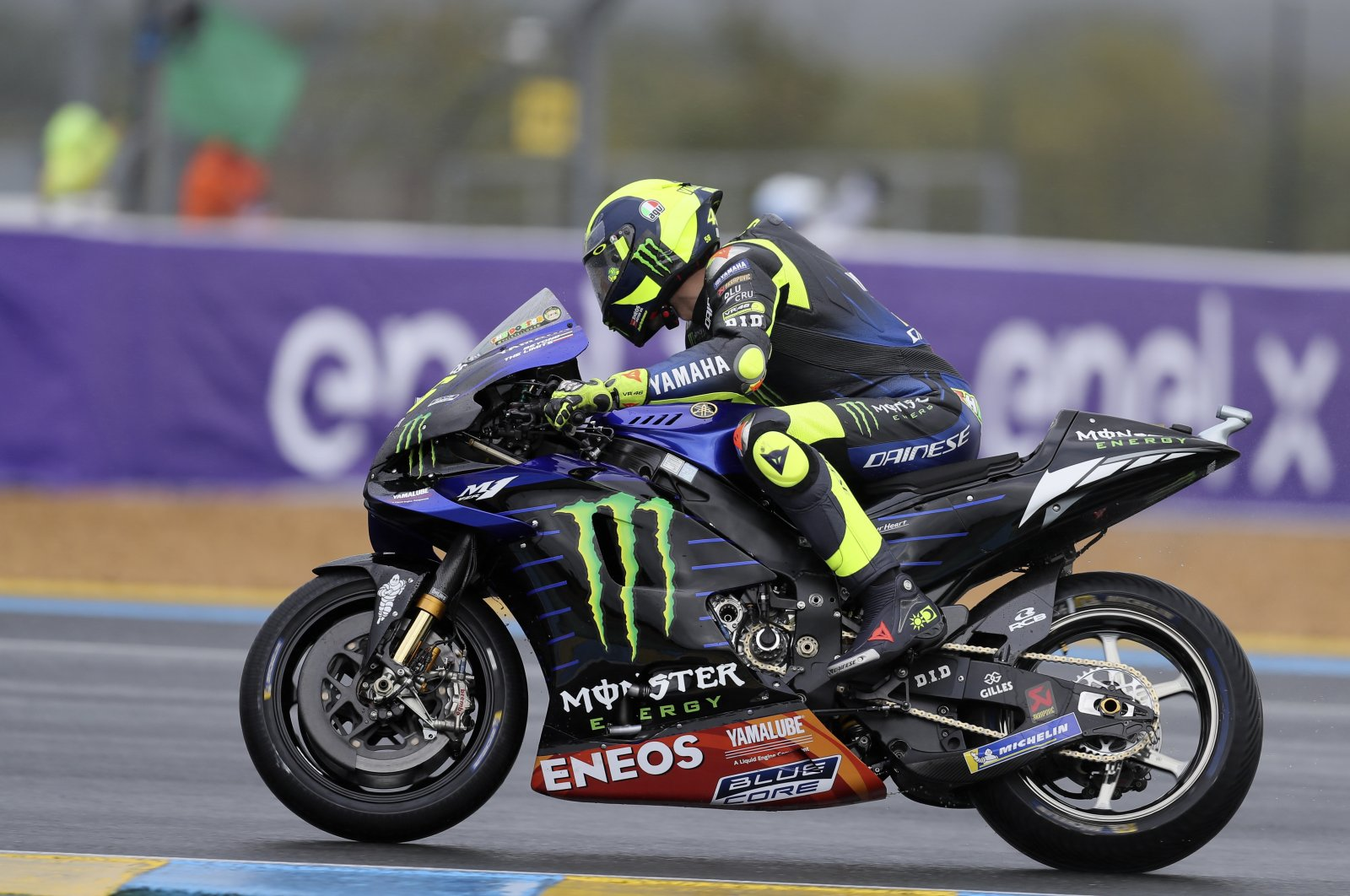 Valentino Rossi a warmup before the French MotoGP race, in Le Mans, France, Oct. 11, 2020. (AP Photo)