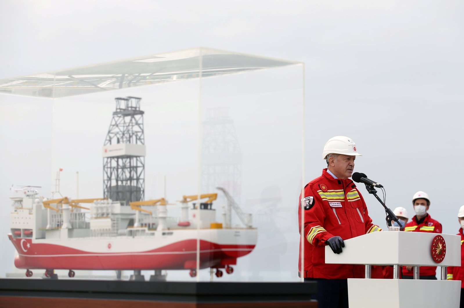 President Recep Tayyip Erdoğan speaks on the deck of the drilling vessel Fatih off the Black Sea city of Zonguldak, Turkey, Oct. 17, 2020. (Photo by the Presidential Press Office via Reuters )