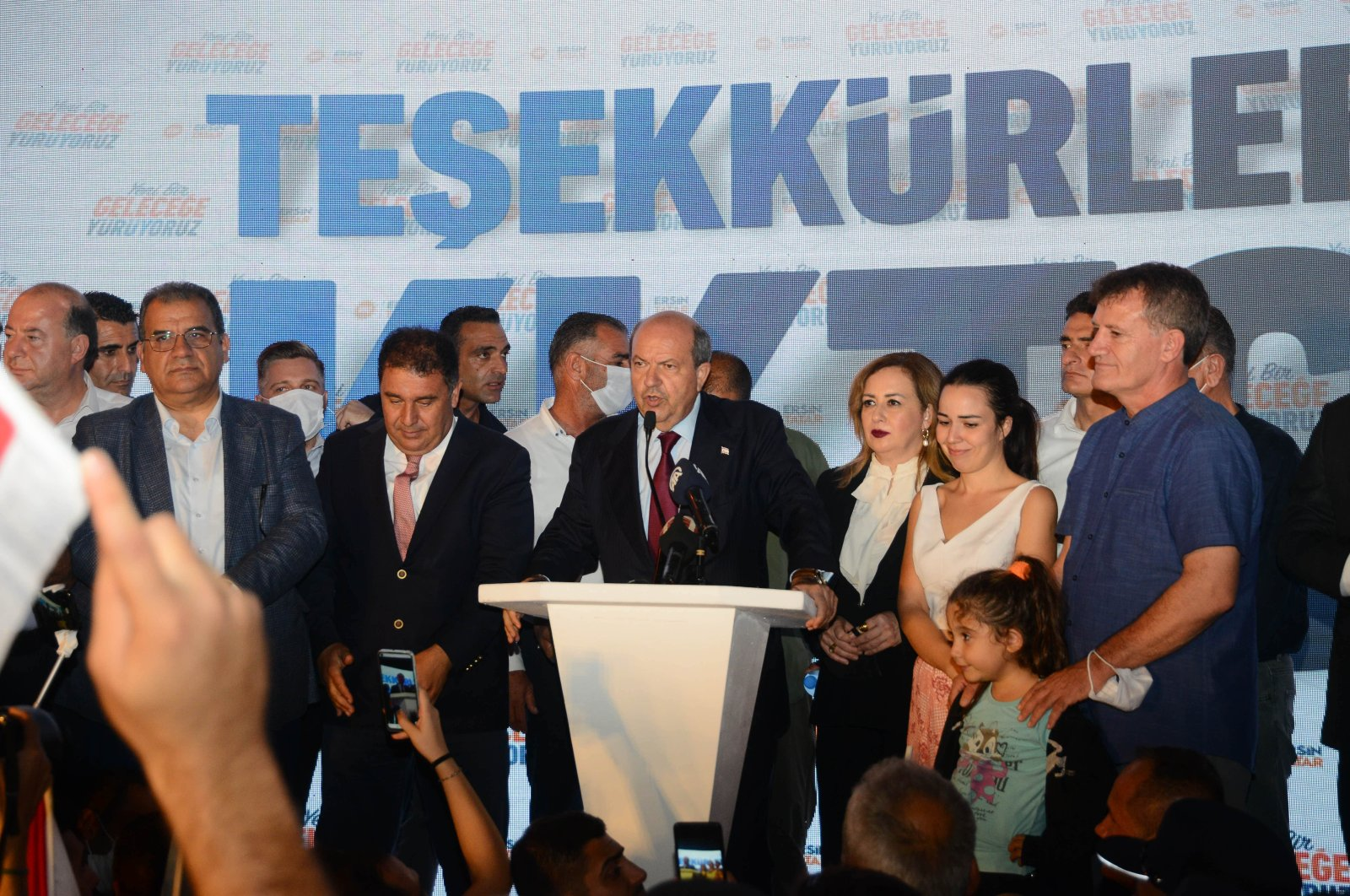 President-elect Ersin Tatar speaks after winning the second round of presidential elections in the Turkish Republic of Northern Cyprus in Lefkoşa on Oct. 18, 2020 (AA Photo)
