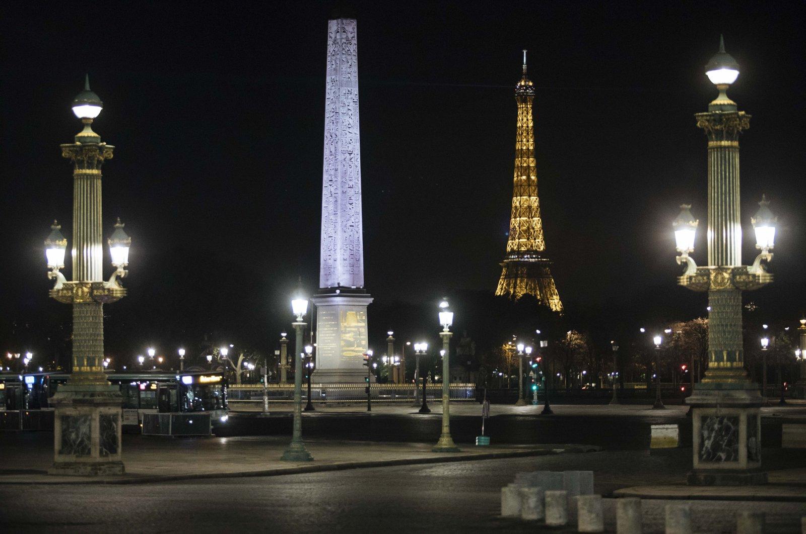 Concorde square is empty during curfew in Paris, Saturday, Oct. 17, 2020. (AP Photo)
