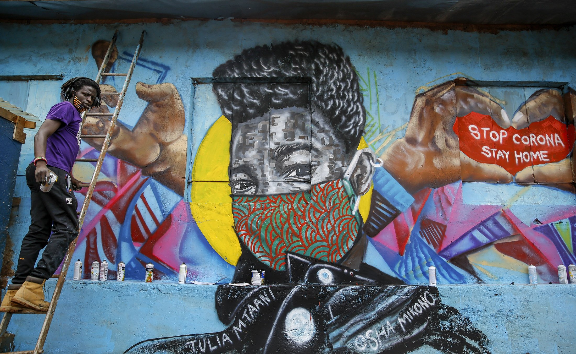 In Photos Covid Inspired Street Graffiti Daily Sabah