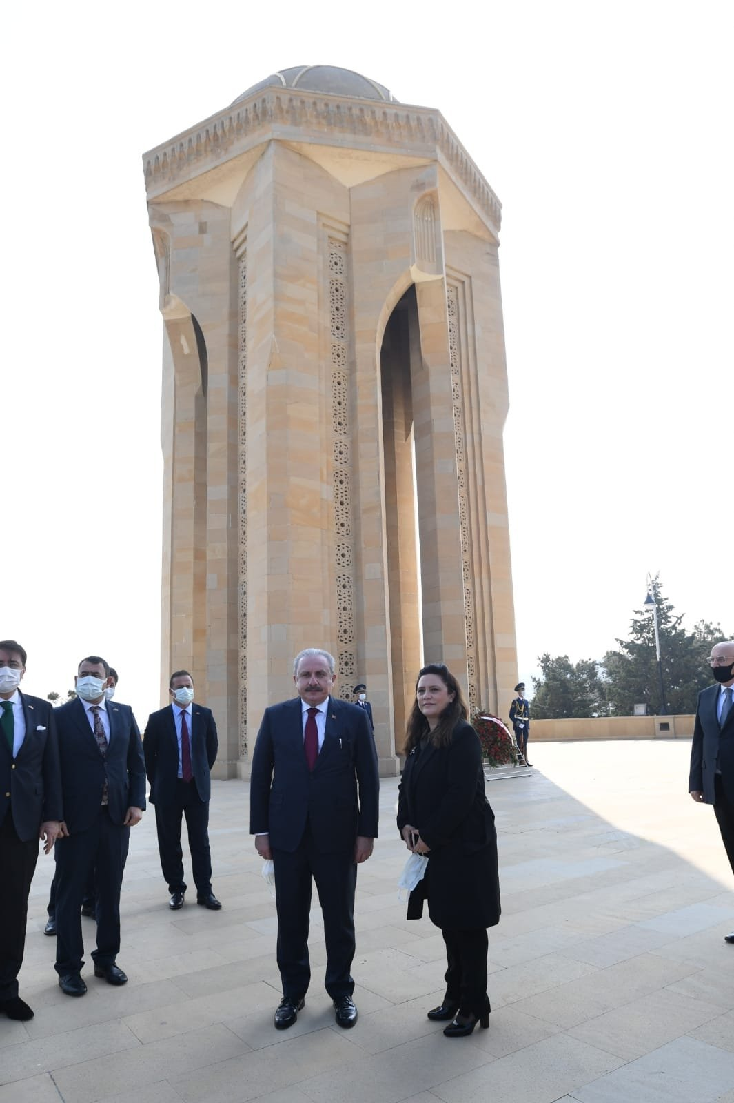 Turkey's Parliament Speaker Mustafa Şentop with Daily Sabah Ankara Bureau Chief Nur Özkan Erbay in Azerbaijan's capital Baku on Oct. 19, 2020. (Photo by Daily Sabah)