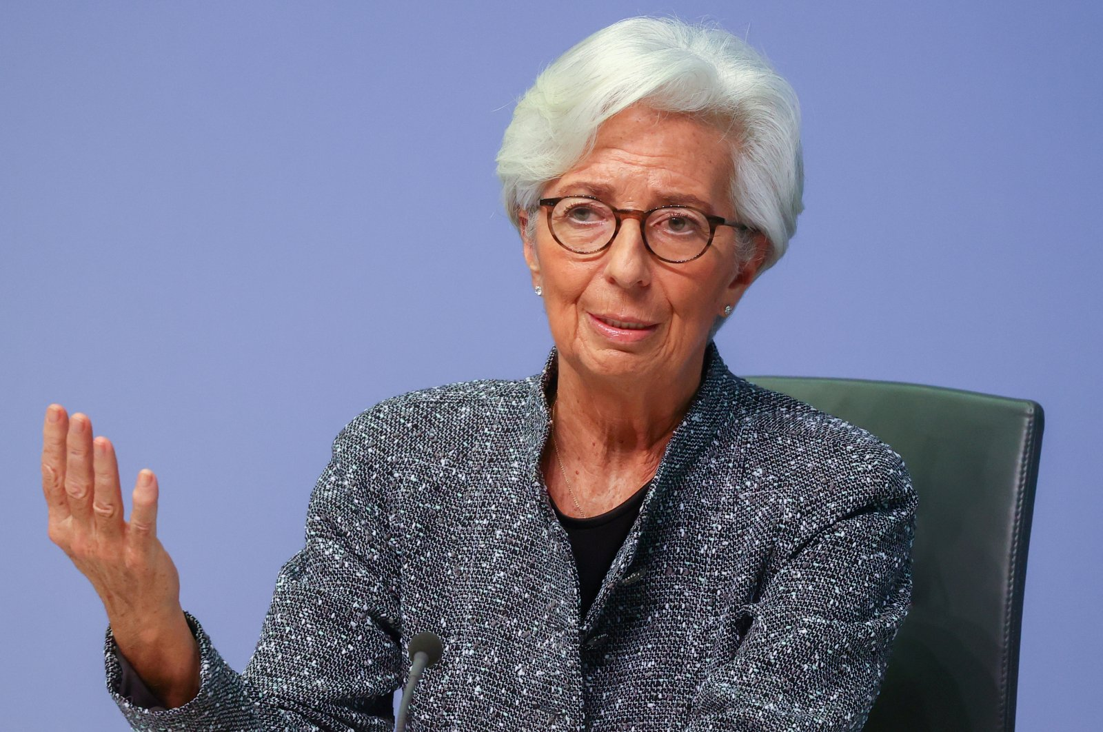 European Central Bank (ECB) President Christine Lagarde gestures as she addresses a news conference on the outcome of the meeting of the Governing Council, in Frankfurt, Germany, March 12, 2020. (Reuters Photo)
