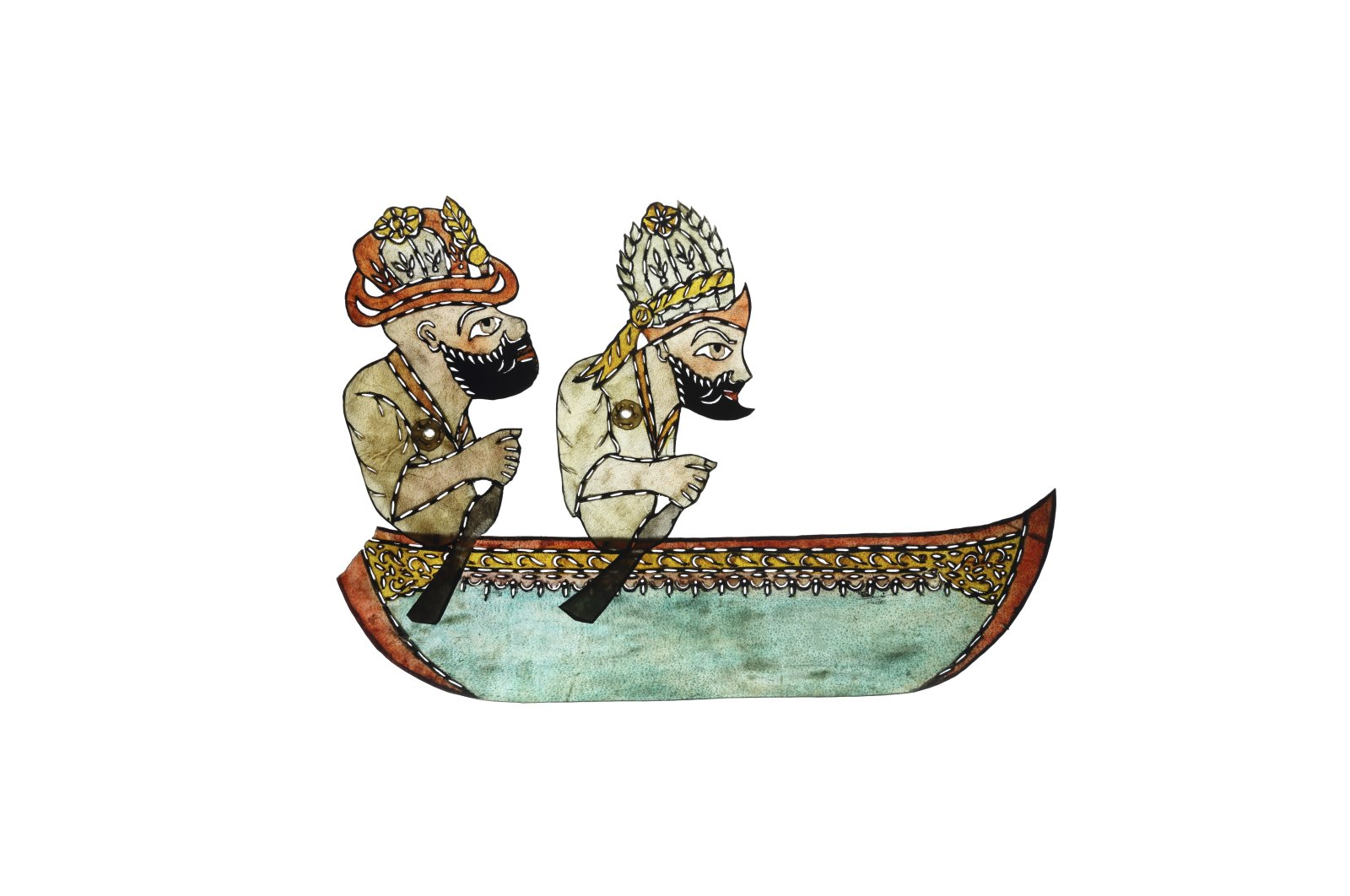 """""""Karagöz and Hacivat in a Boat,"""" camel leather, 25.7 by 36.5 centimeters (10.1 by 14.3 inches), Yapı Kredi Museum. (Courtesy of YKY Arts and Culture)"""