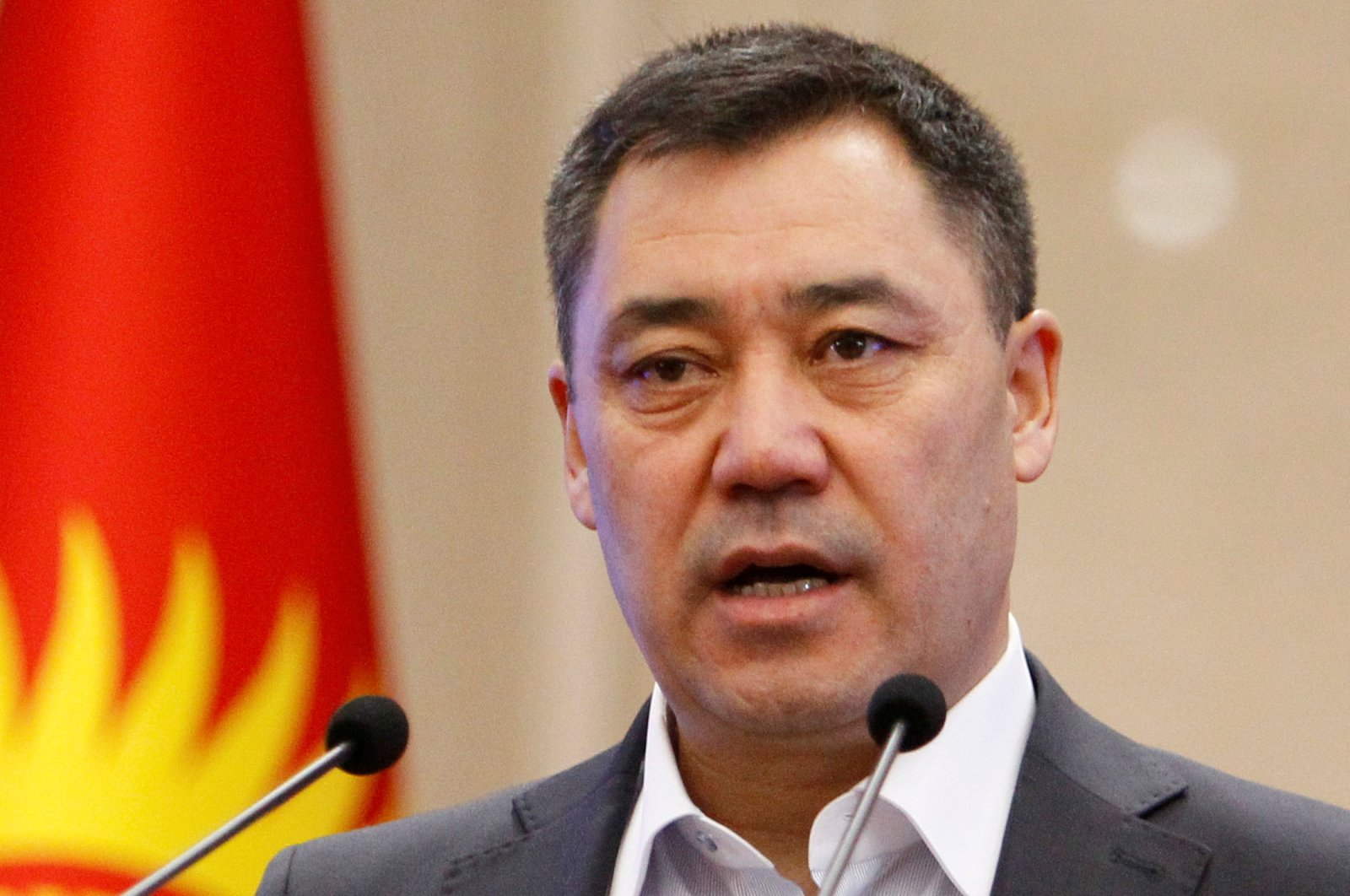Kyrgyzstan's Prime Minister Sadyr Japarov delivers a speech during an extraordinary session of parliament in Bishkek, Kyrgyzstan, Oct. 16, 2020. (Reuters Photo)