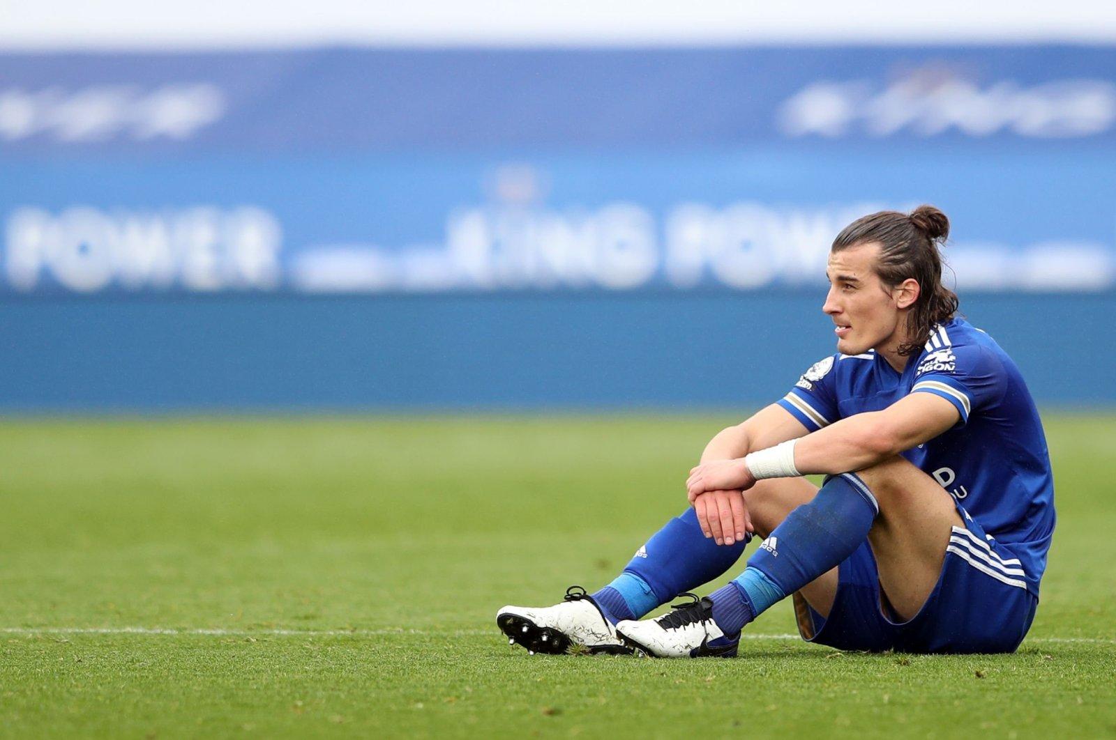 Leicester City's Çaglar Söyüncü reacts after a Premier League match, in Leicester, England, Oct. 4, 2020. (AFP Photo)