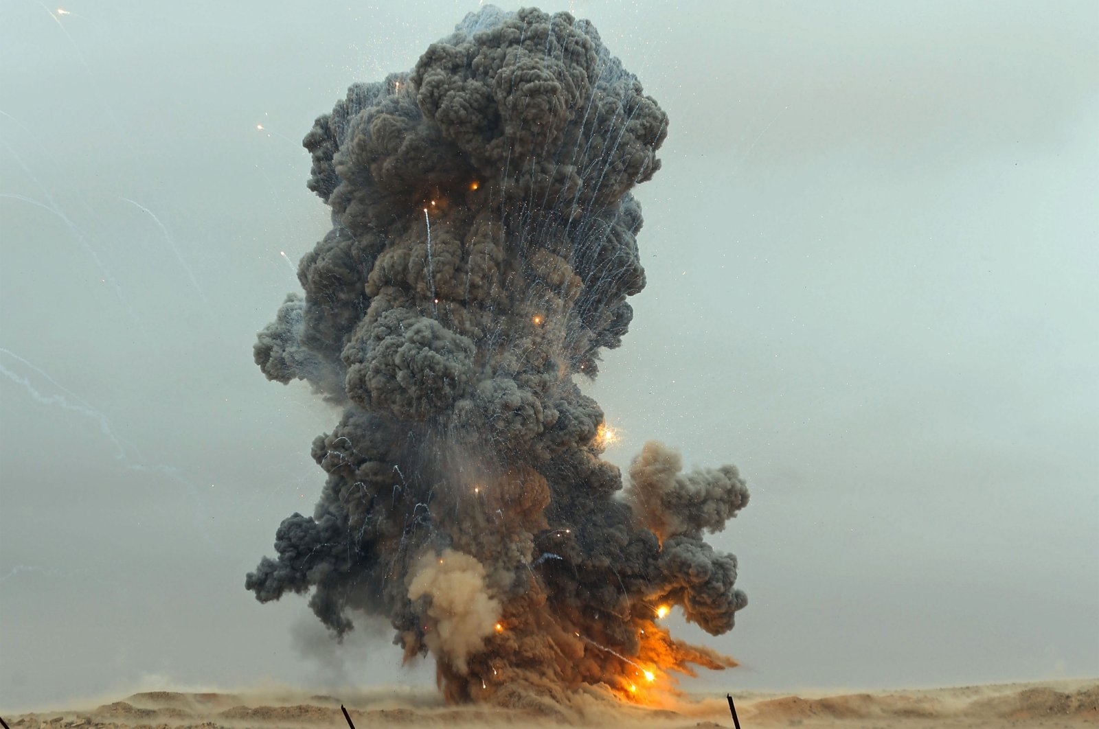 Military engineers of the U.N.-recognized Libyan Government of National Accord (GNA) detonate an explosive device, uncovered from areas south of the capital Tripoli, Oct. 12, 2020. (AFP Photo)