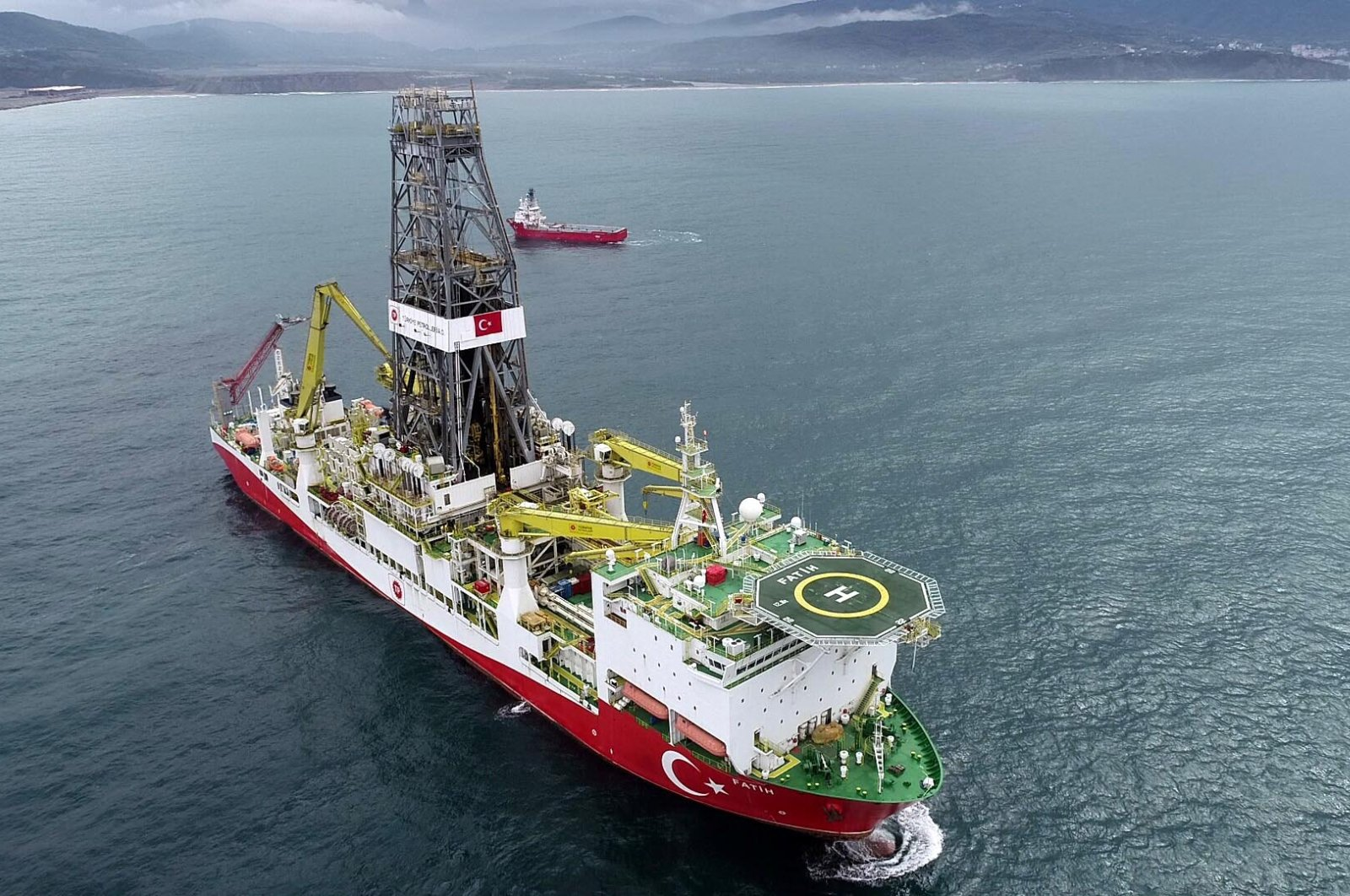 Fatih drillship is seen ofshore Filyos town in the Black Sea province of Zonguldak, Oct. 19, 2020. (DHA Photo)
