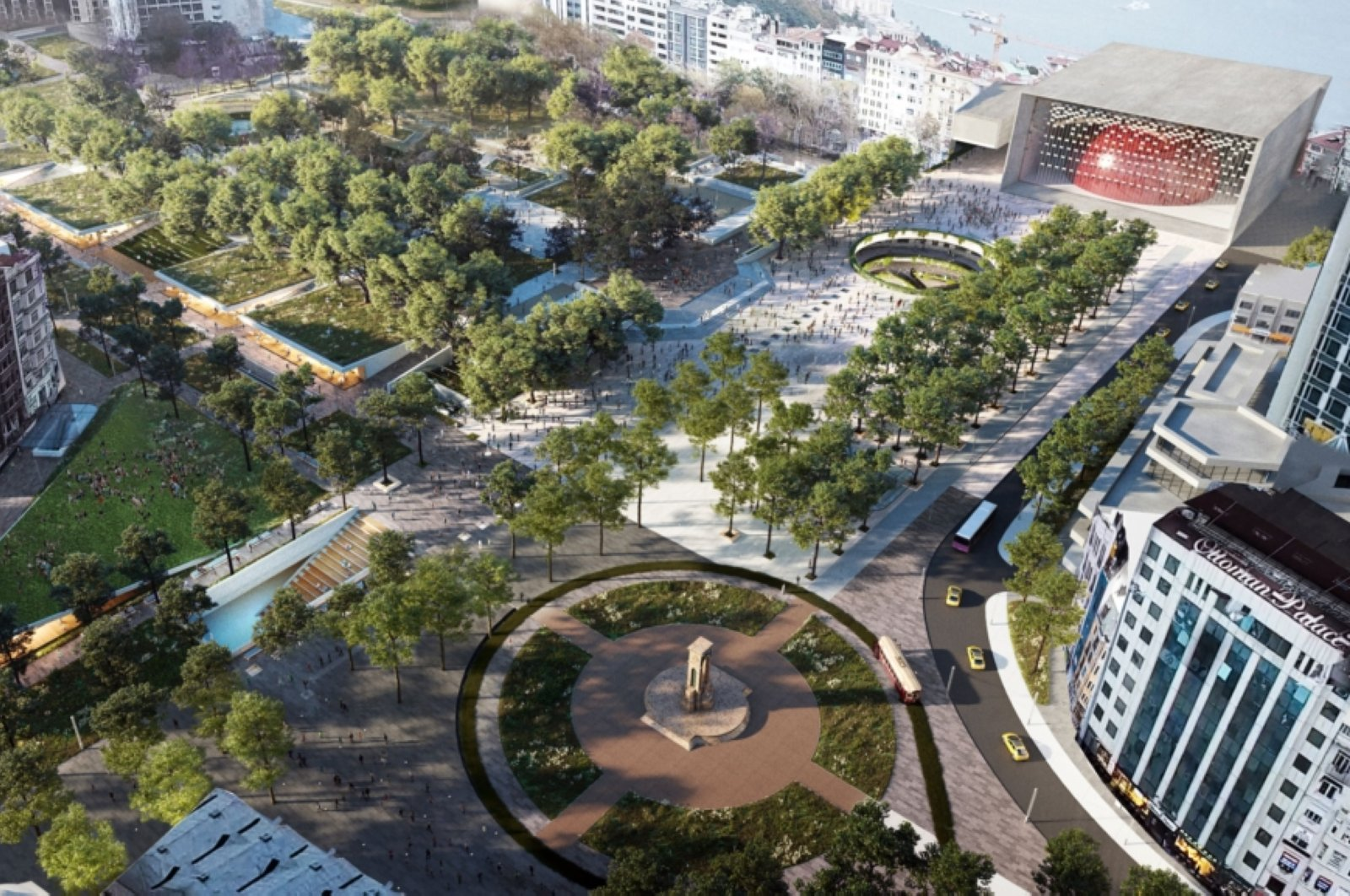One of the designs put up for vote by the municipality for the Taksim Square, öne of main tourist attractions on Istanbul's European side. (COURTESY OF IBB)