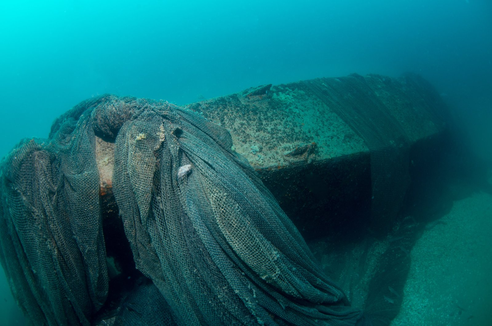 A view of the submarine covered with fishing nets, in Sakarya, northwestern Turkey, Oct. 19, 2020. (DHA PHOTO)
