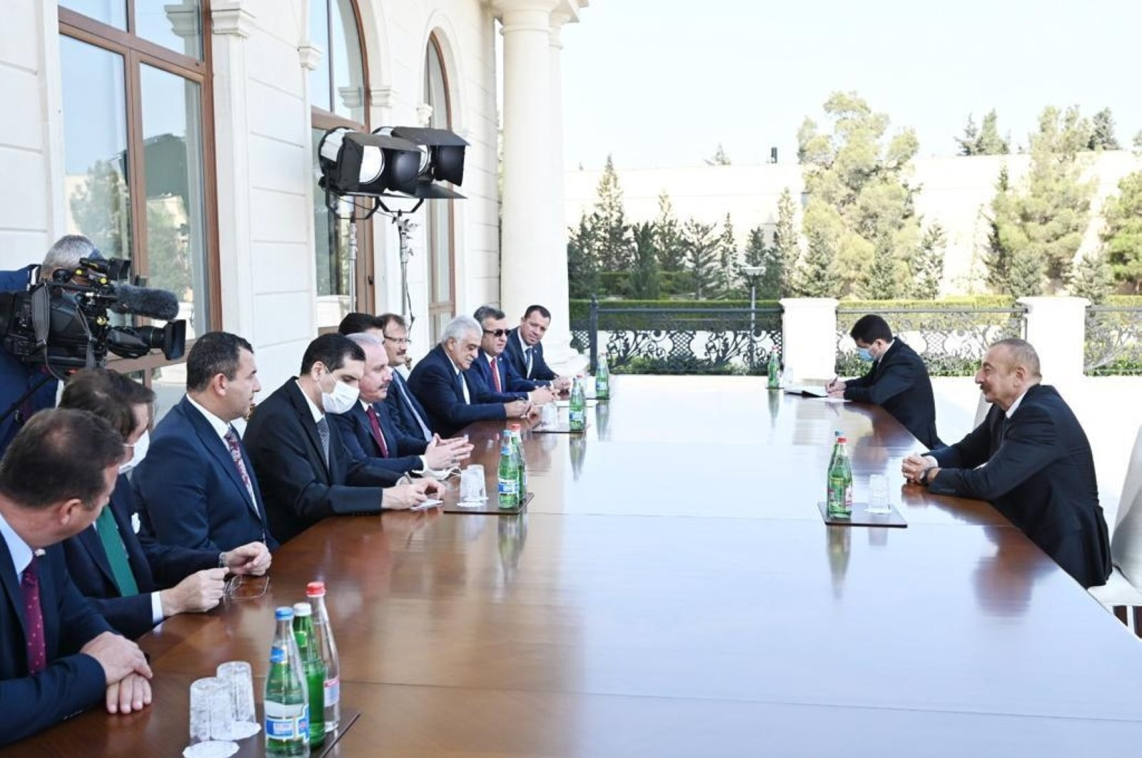 Turkey's Parliament Speaker Mustafa Şentop (L) came together with Azerbaijan's President Ilham Aliyev to hold official talks, Oct. 19, 2020 (AA Photo)