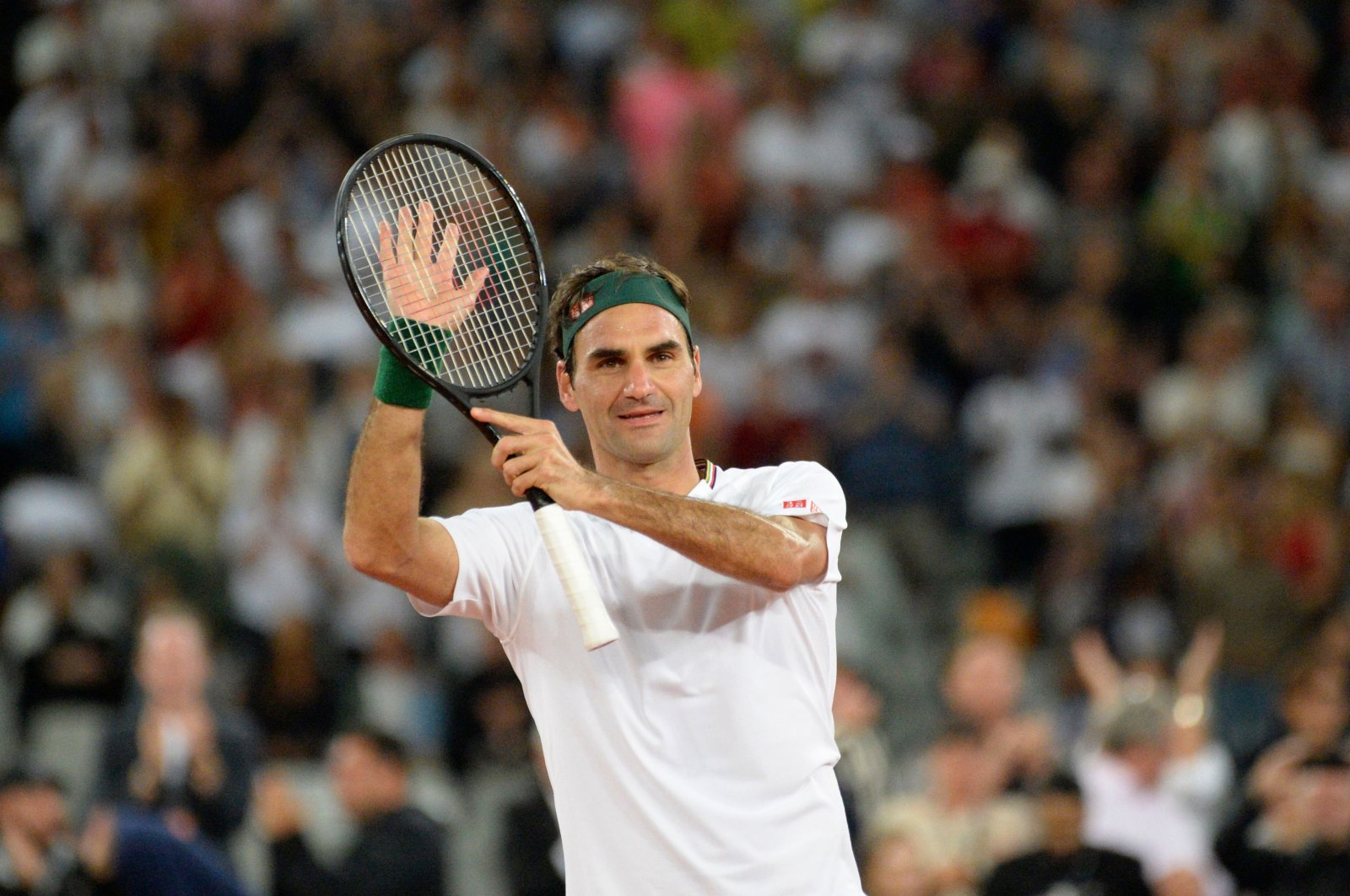 Roger Federer reacts after defeating Rafael Nadal during an expedition match in Cape Town, South Africa, Feb. 7, 2020. (AFP Photo)