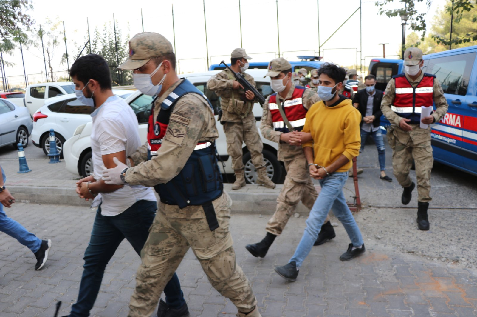 PKK terrorists were brought to the court by security forces in southeastern Diyarbakır, Oct. 19, 2020. (AA Photo)