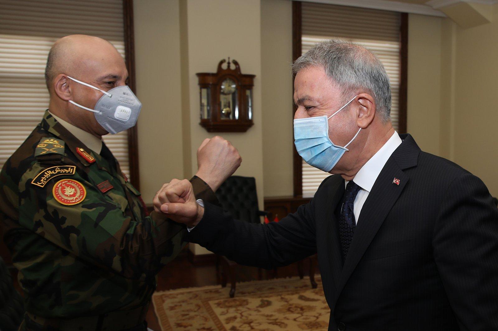 Defense Minister Hulusi Akar receives Libyan Chief of General Staff Muhammad Ali Ahmad al-Haddad in the capital Ankara, Turkey, Oct. 19, 2020. (AA Photo)