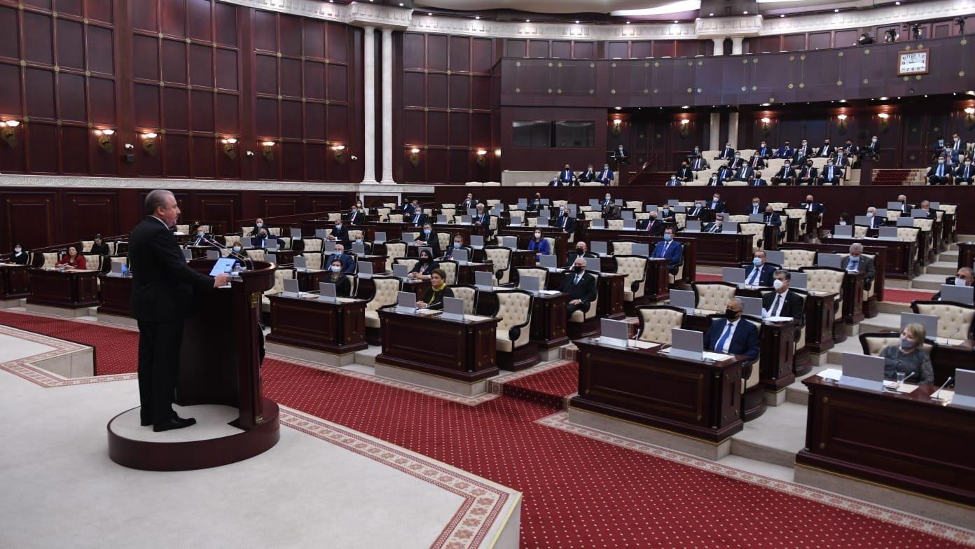 Parliament Speaker Mustafa Şentop addresses the Azerbaijani Parliament on Tuesday, Oct. 20, 2020 (AA Photo)