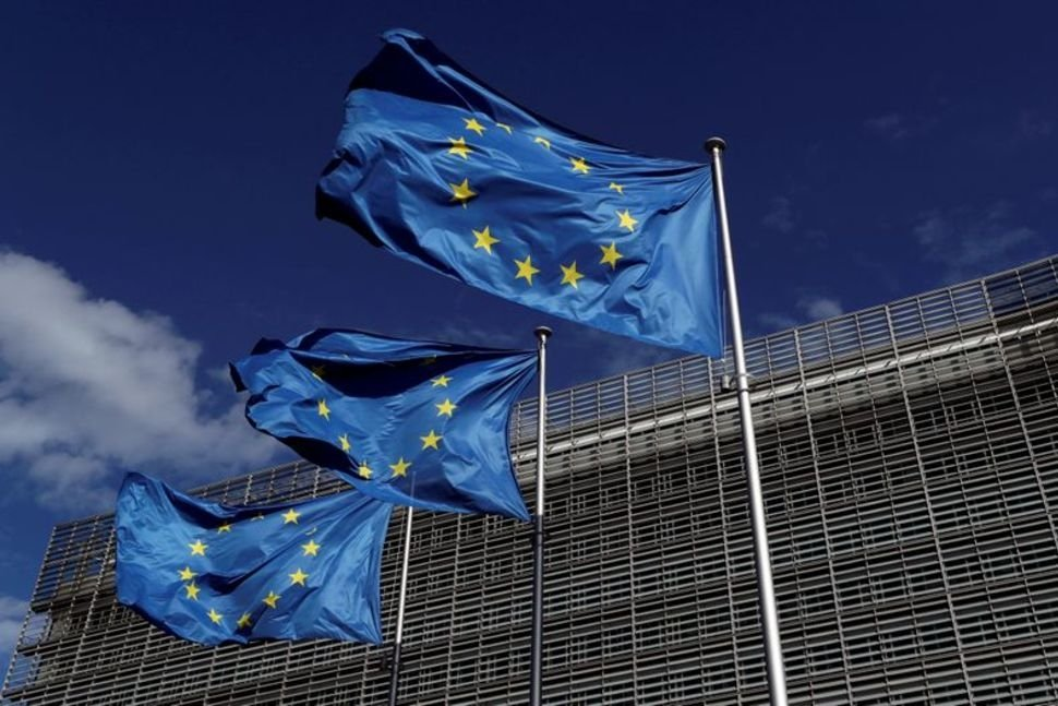 European Union flags flutter outside the European Commission headquarters, Brussels, Belgium, Aug. 21, 2020. (REUTERS Photo)