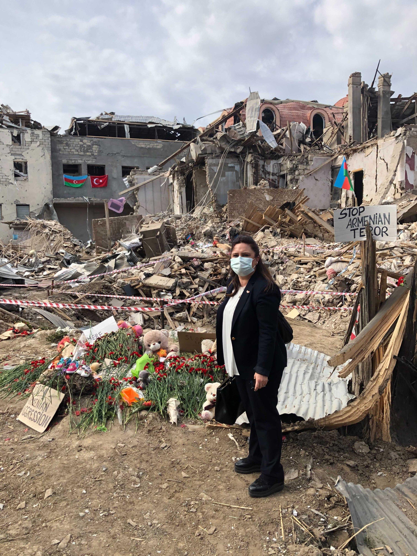 Daily Sabah Ankara Bureau Chief Nur Özkan Erbay visited Azerbaijan's Ganja city following an Armenian attack on civilian settlements, Oct. 20, 2020. (Photo by Daily Sabah)