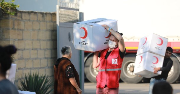 The Turkish Red Crescent (Kızılay) prepares a second batch of humanitarian aid for Baku, Istanbul, Turkey, Oct. 19, 2020 (IHA Photo)