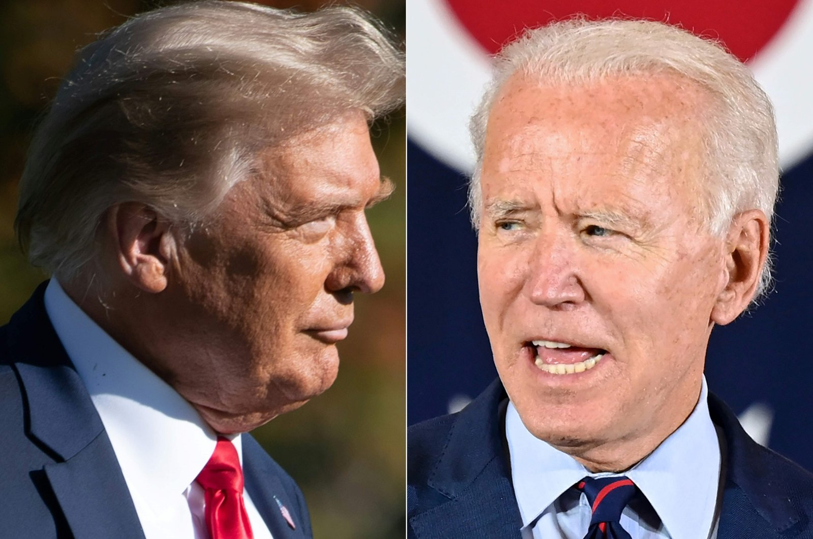 This combination of file photos created on October 15, 2020 shows US President Donald Trump(L) in Washington, DC, on October 14, 2020, and Democratic presidential candidate Joe Biden in Cincinnati, Ohio, on October 12, 2020. (AFP Photo)