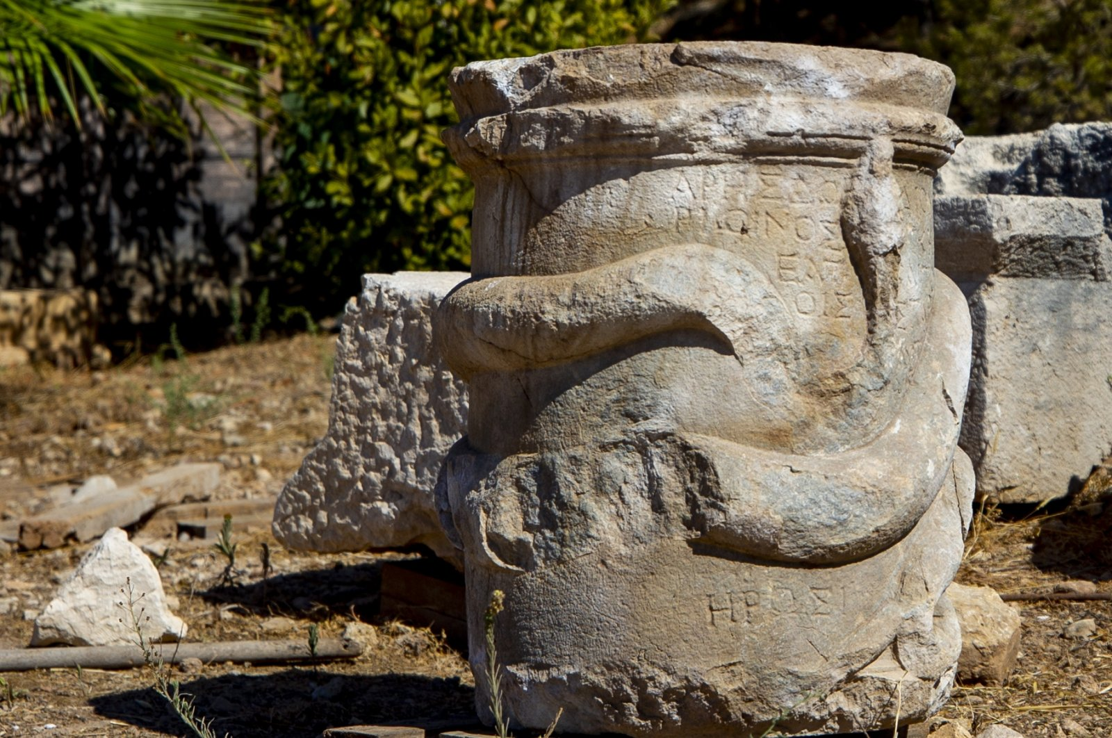 The snake-figure altar is seen in the ancient city of Patara, Antalya, southern Turkey, Oct. 19, 2020. (AA  PHOTO)