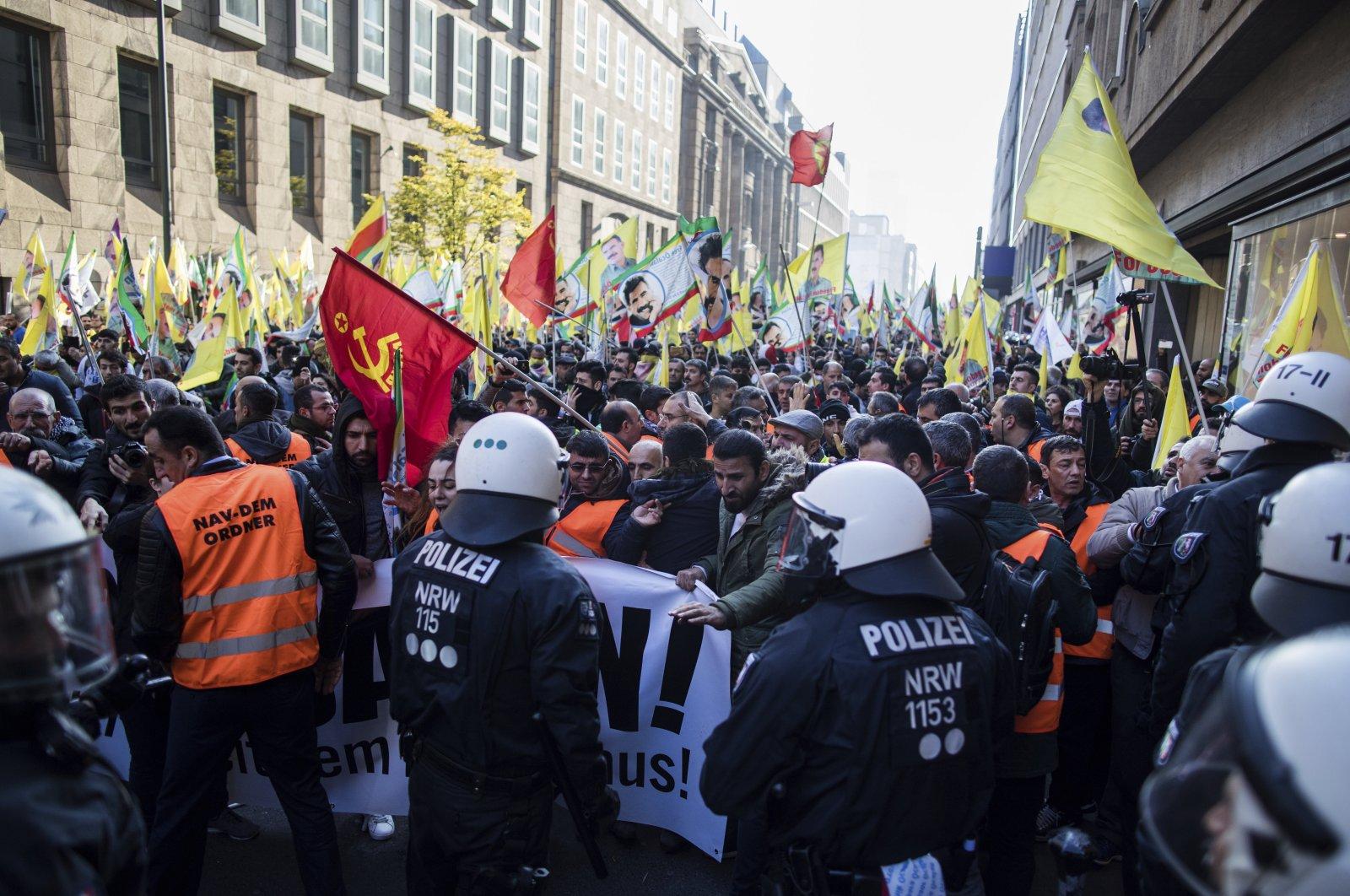 PKK supporters hold a demonstration in Germany's Düsseldorf, Nov. 4, 2017. (AP Photo)