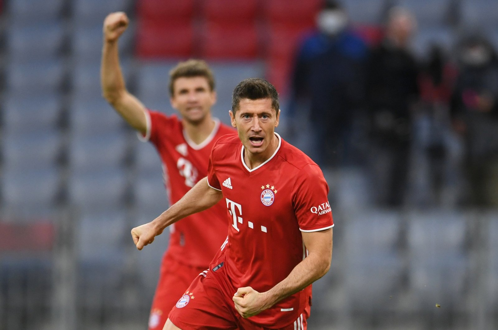Bayern Munich's Robert Lewandowski celebrates scoring a goal during a Bundesliga match against Hertha Berlin, in Munich, Germany, Oct. 4, 2020. (Reuters Photo)