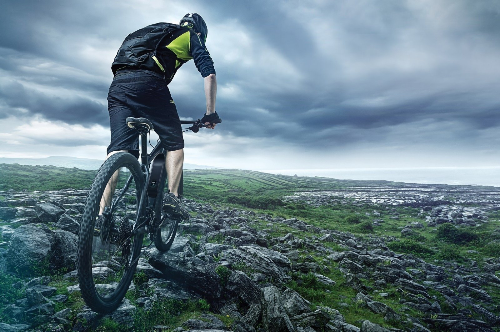This concept photo provided on Oct. 20, 2020, depicts a biker using a Vestel battery-powered e-bike. (IHA Photo)