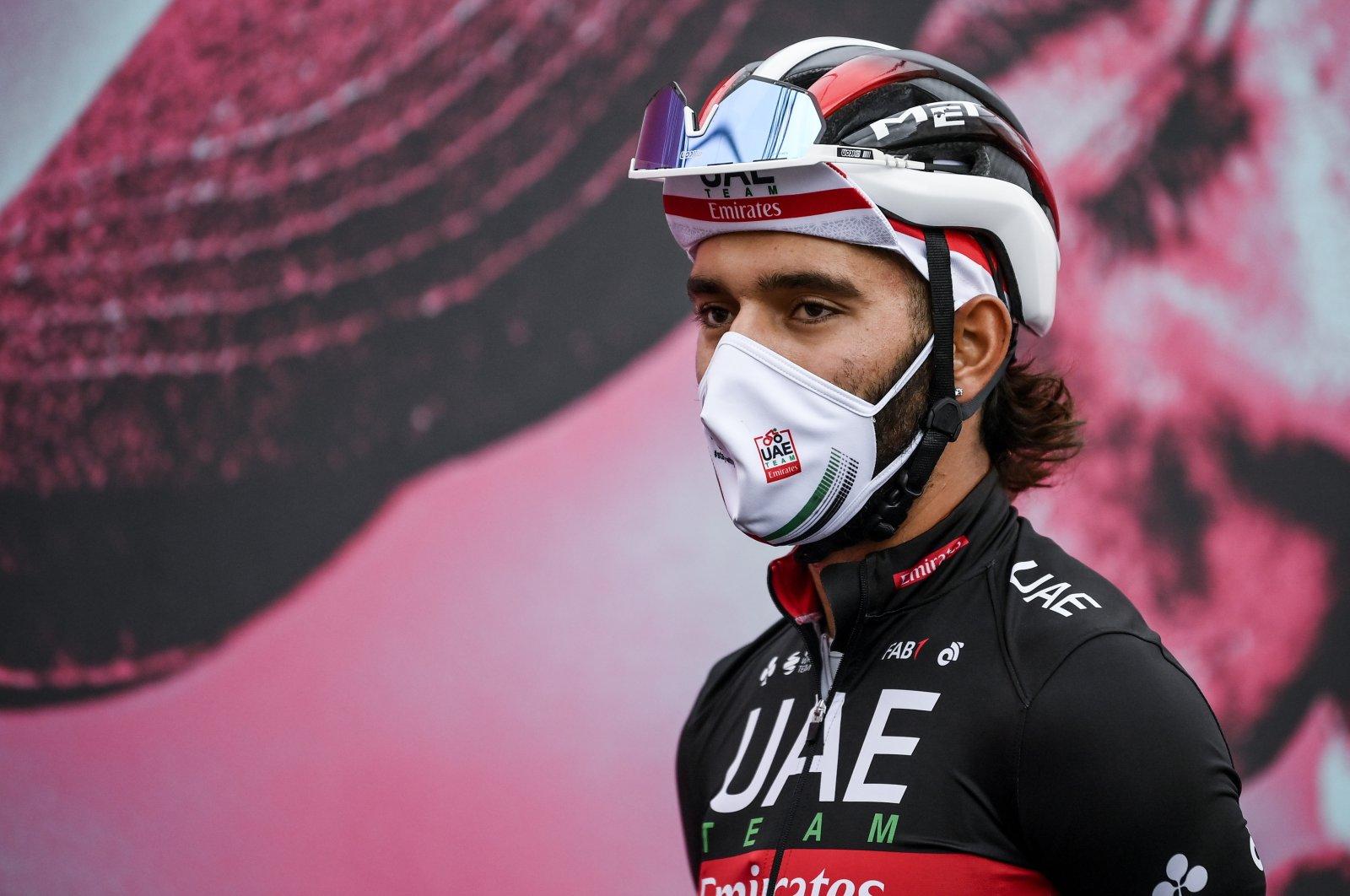 Fernando Gaviria before the 13th stage of Giro d'Italia, near Cervia, Italy, Oct. 16, 2020. (AP Photo)