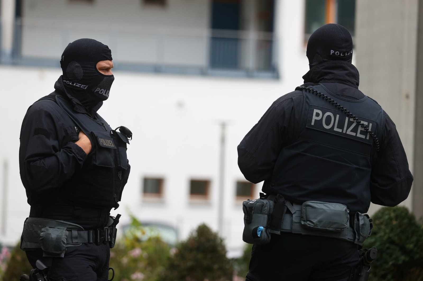 Police secure the area in front of the German Football Association's (DFB) headquarters as German prosecutors and tax authorities search offices of the association as well as homes of current and former DFB officials on suspicion of tax evasion, in Frankfurt, Germany, Oct. 7, 2020. (Reuters Photo)