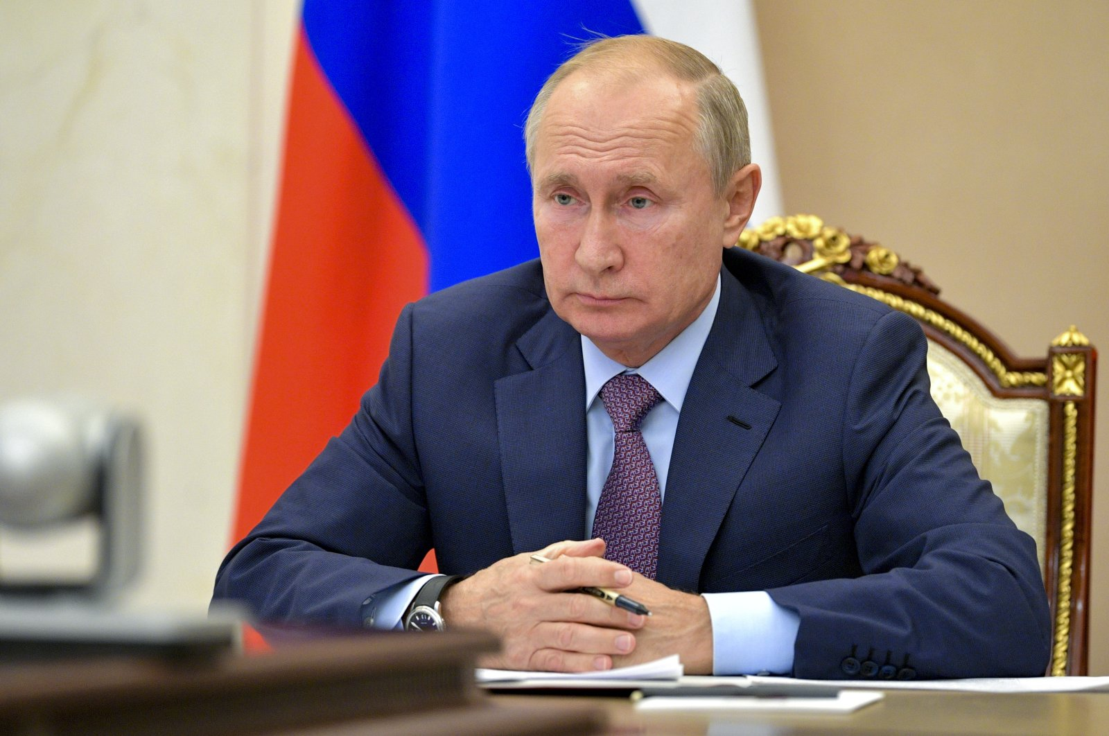 Russian President Vladimir Putin attends a meeting via videoconference at the Novo-Ogaryovo residence outside Moscow, Russia, Oct. 14, 2020. (AP Photo)