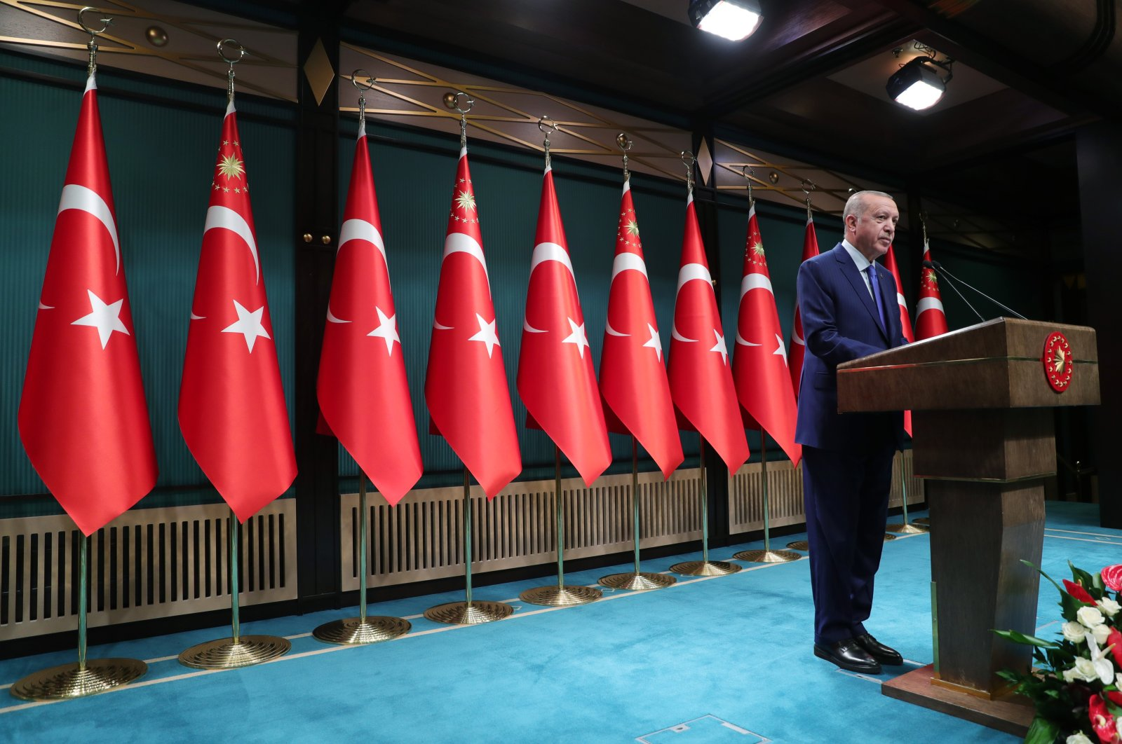 President Recep Tayyip Erdoğan speaks during a press conference at the Presidential Complex in Ankara, Oct. 20, 2020. (AA Photo)