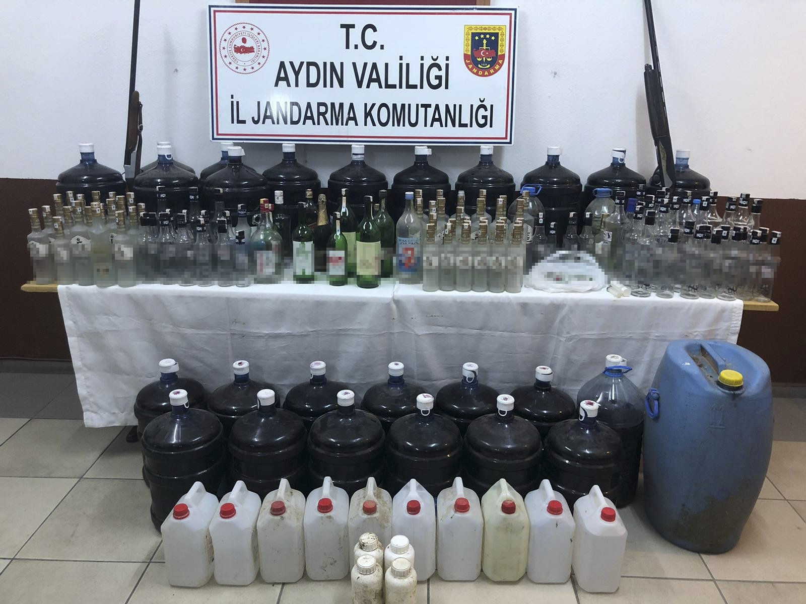 Bootleg alcohol seized in an operation on display in Aydın, western Turkey, Oct. 21, 2020. (AA Photo)