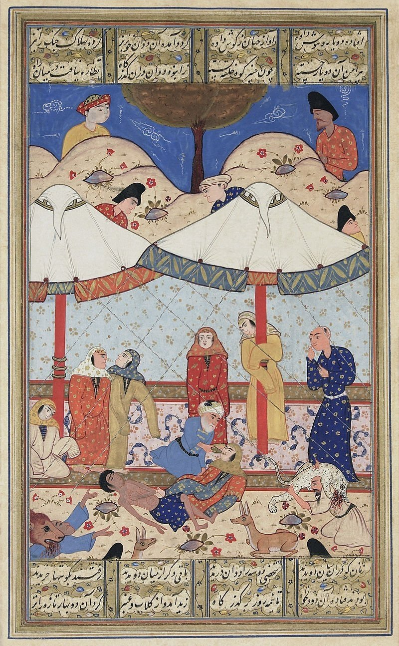 A miniature of Persian poet Nizami Ganjavi's narrative poem on Layla and Majnun.