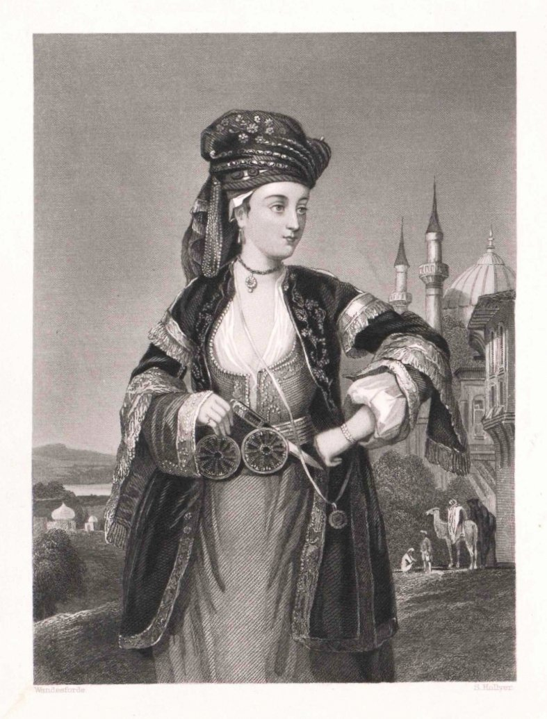 An engraved portrait of Lady Mary Wortley Montagu in traditional Turkish dress by Samuel Hollyer and Juan Wandesforde.