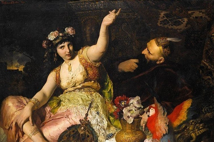 "A painting by German artist Ferdinand Keller showing Scheherazade, a major female character and the storyteller in the frame narrative of ""One Thousand and One Nights"", and Sultan Shahryar, to whom she tells stories to."