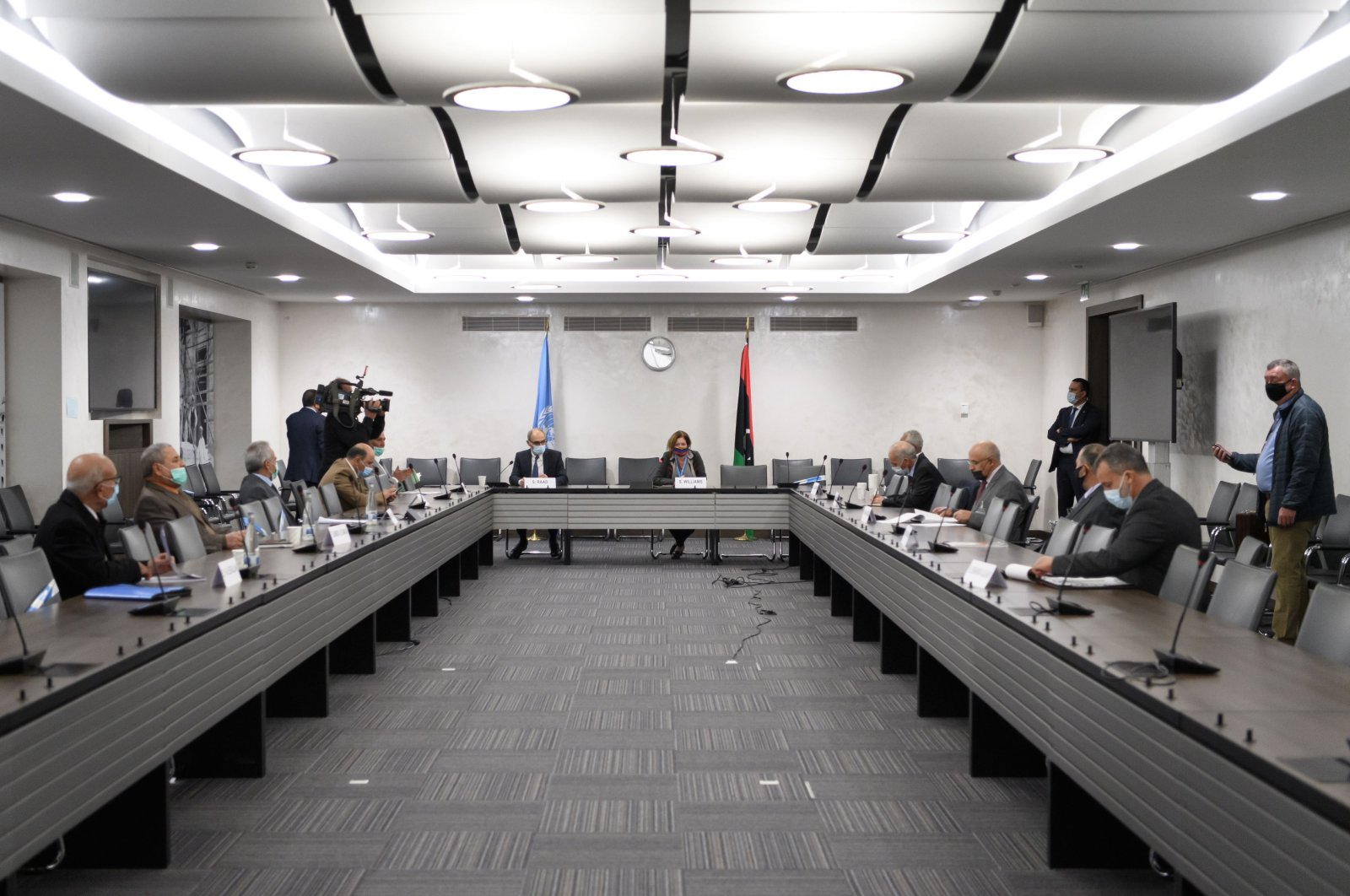 General view during talks between the rival factions in the Libya conflict at the United Nations offices in Geneva on Oct. 20, 2020. (AFP Photo)