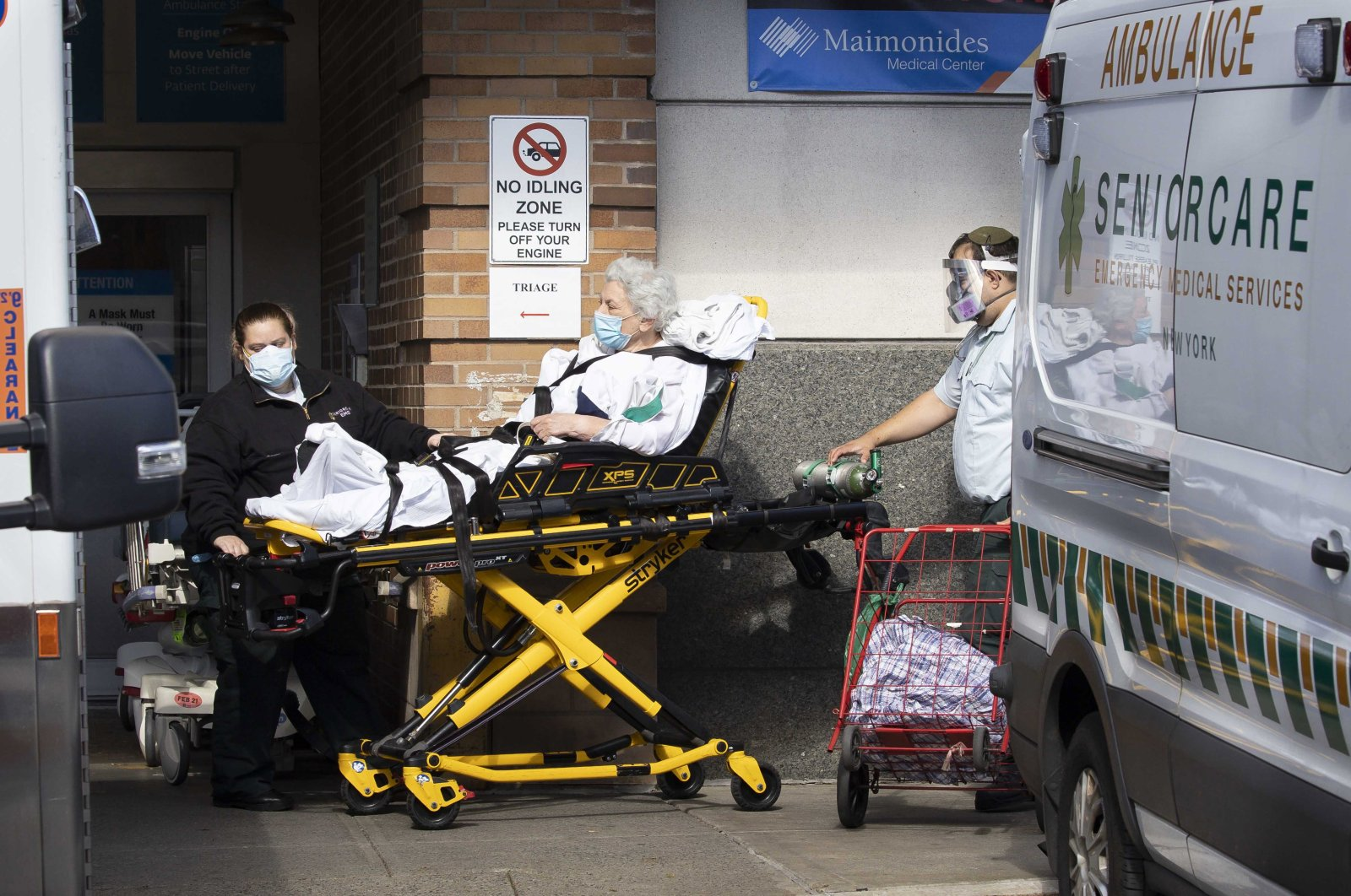A person is brought into an emergency room in the Borough Park neighborhood of Brooklyn, New York, Oct. 8, 2020. (EPA Photo)