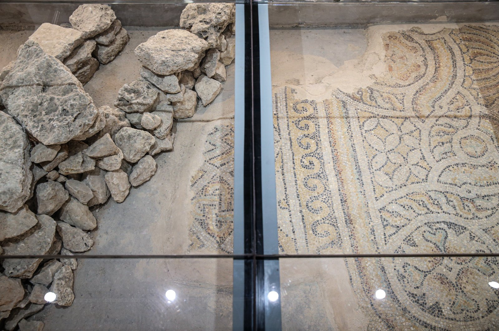 The mosaic, under a protective glass panel, at the former municipality building, Istanbul, Oct. 19, 2020. (AA PHOTO)