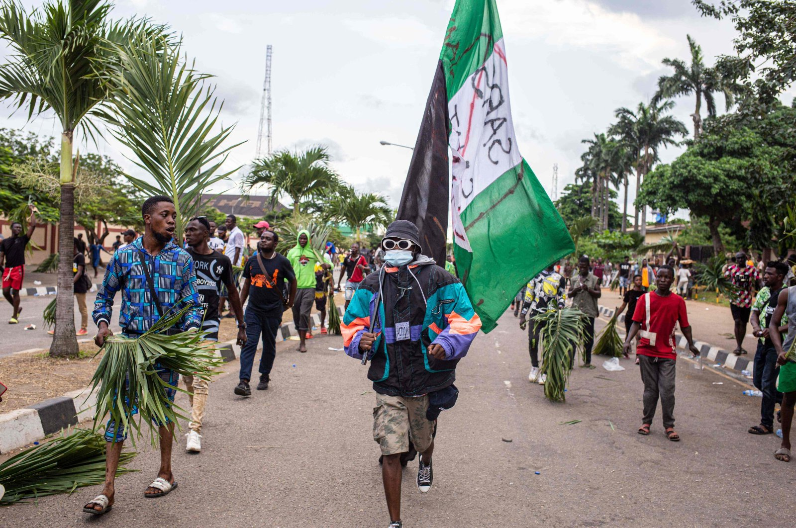 Protesters march at Alausa, the Lagos State Secretariat, Lagos, Oct. 20, 2020. (AFP Photo)