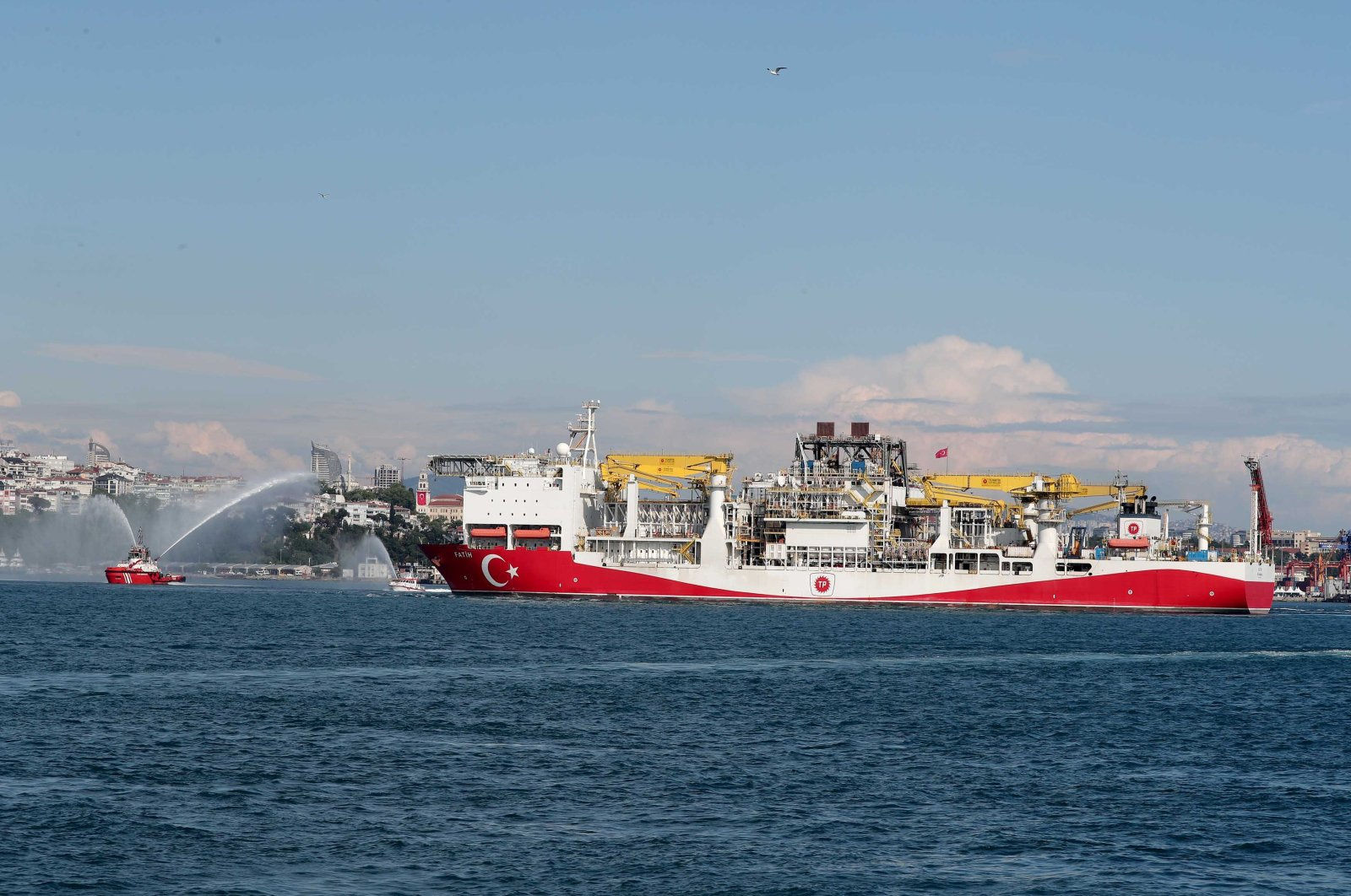 The drillship Fatih is seen off Istanbul as it departs for the Black Sea for exploration activities, Istanbul, Turkey, May 29, 2020. (DHA Photo)