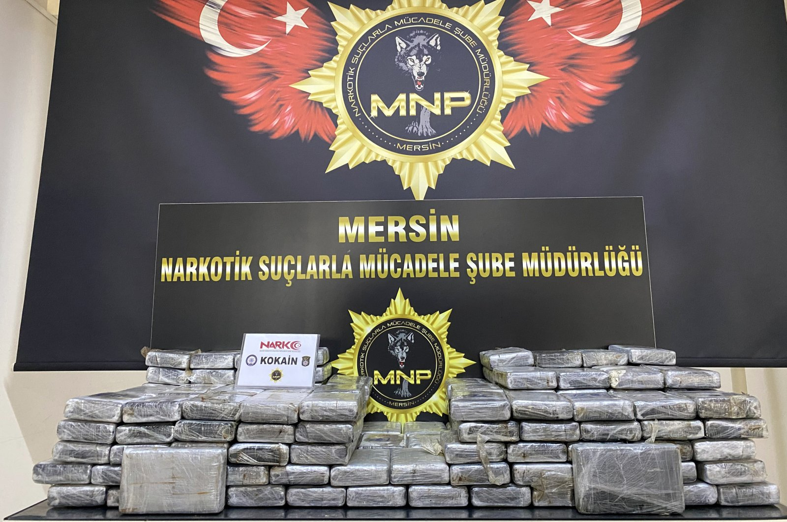 A view of packages containing cocaine at police headquarters in Mersin, southern Turkey, Oct. 21, 2020. (AA Photo)