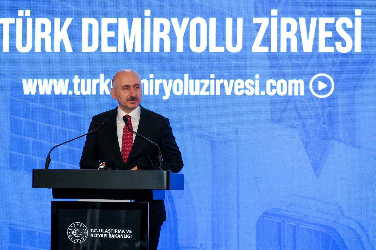 Transport and Infrastructure Minister Adil Karaismailoğlu speaks during the Turkish Railway Summit, Istanbul, Oct. 21, 2020. (AA Photo)