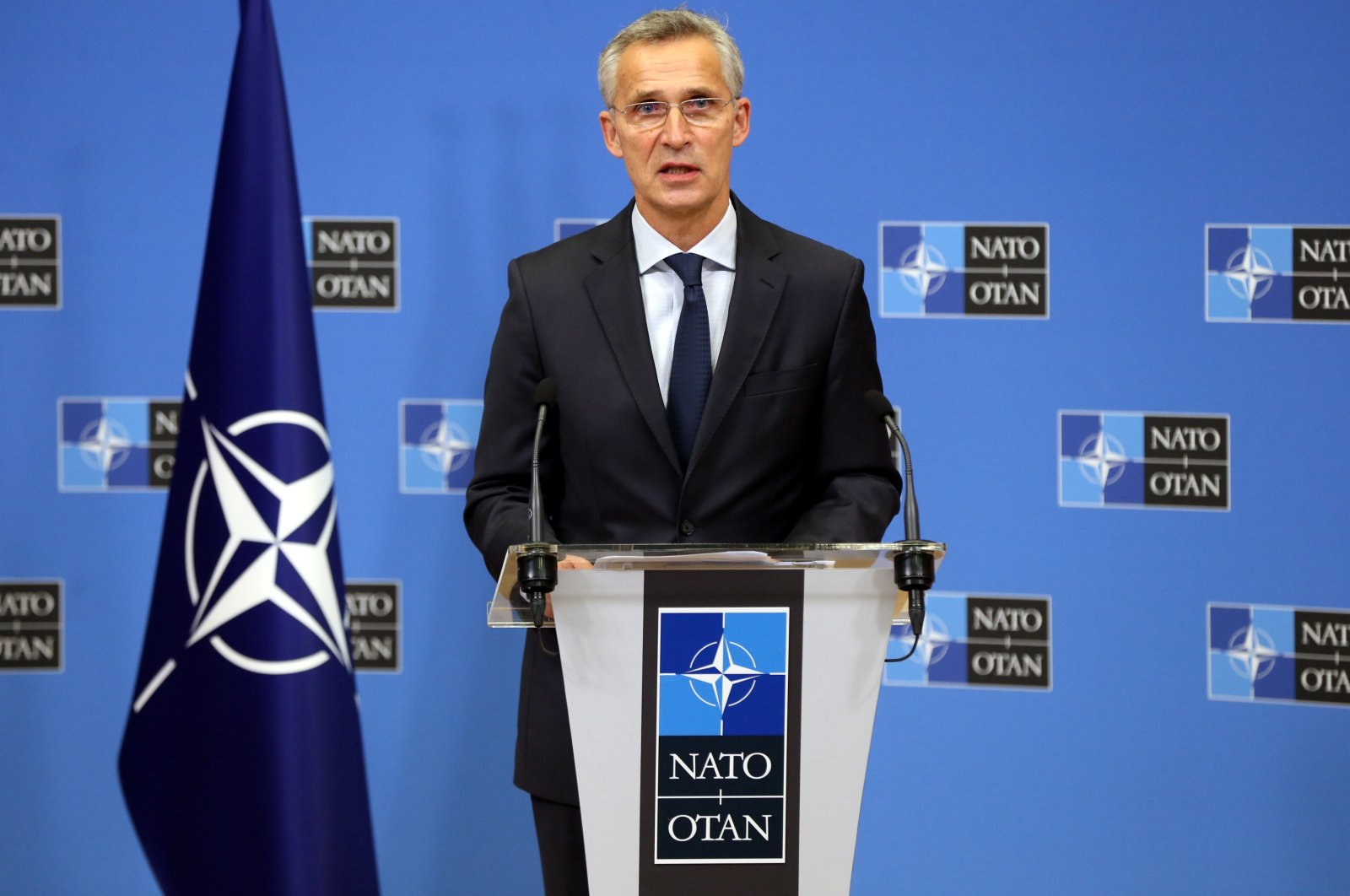 NATO Secretary-General Jens Stoltenberg speaks during a press conference in Brussels, Aug. 10, 2020. (AA Photo)