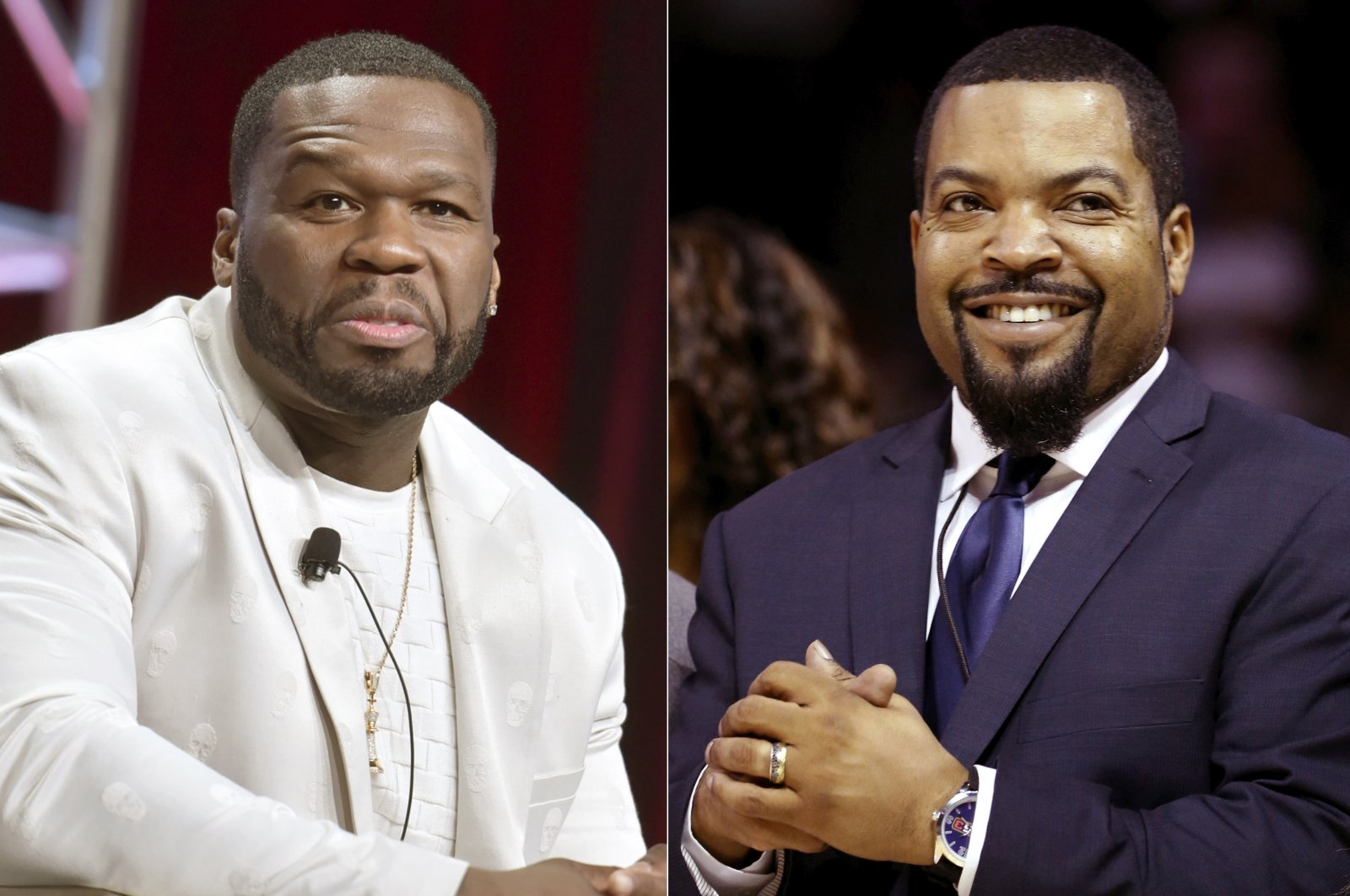 """Curtis """"50 Cent"""" Jackson (L) participates in the Starz """"Power"""" panel at the Television Critics Association Summer Press Tour in Beverly Hills, Calif., July 26, 2019, and BIG3 League founder Ice Cube (R) at the debut of the BIG3 Basketball League in New York, June 25, 2017. (AP Photo)"""