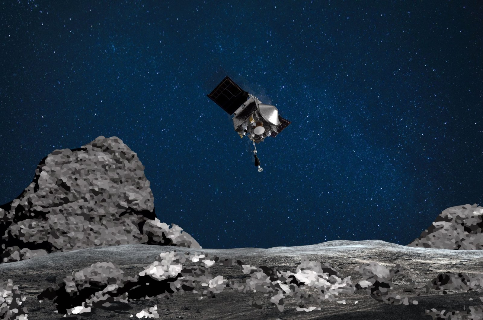 An artist's rendering shows NASA's OSIRIS-REx spacecraft descending toward asteroid Bennu to collect samples from the asteroid's surface. (AFP Photo)