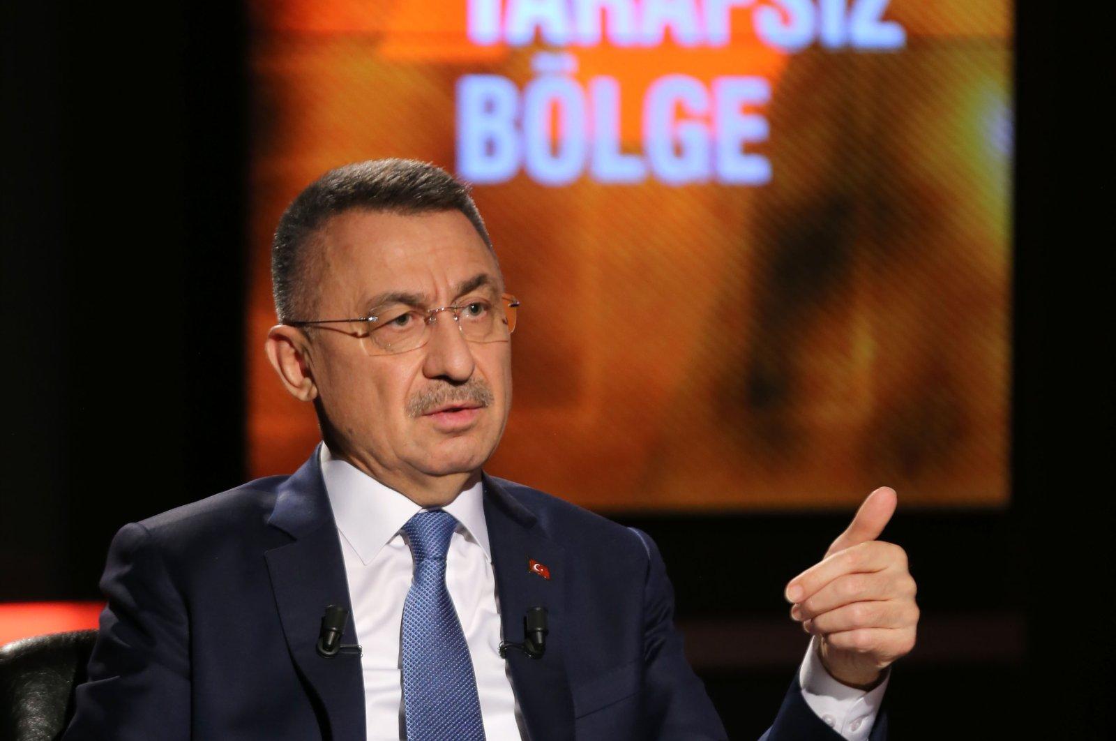 Vice President Fuat Oktay speaks during the CNN Türk broadcast in Ankara, Turkey, Oct. 21, 2020 (AA Photo)