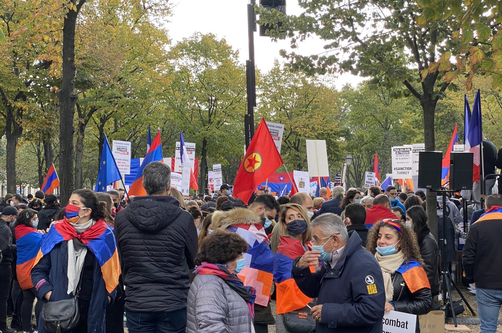 Armenians and PKK terrorists hold a demonstration against Azerbaijan and Turkey in the French capital Paris, Oct. 18, 2020. (AA Photo)