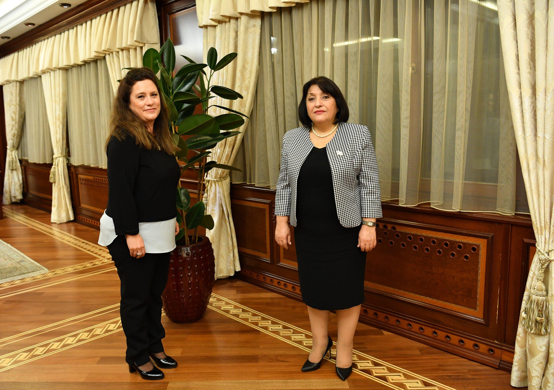 Azerbaijan's parliament Speaker Sahibe Gafarova (R) with Daily Sabah Ankara Bureau Chief Nur Özkan Erbay in Baku on Oct. 19, 2020. (Photo by Daily Sabah)