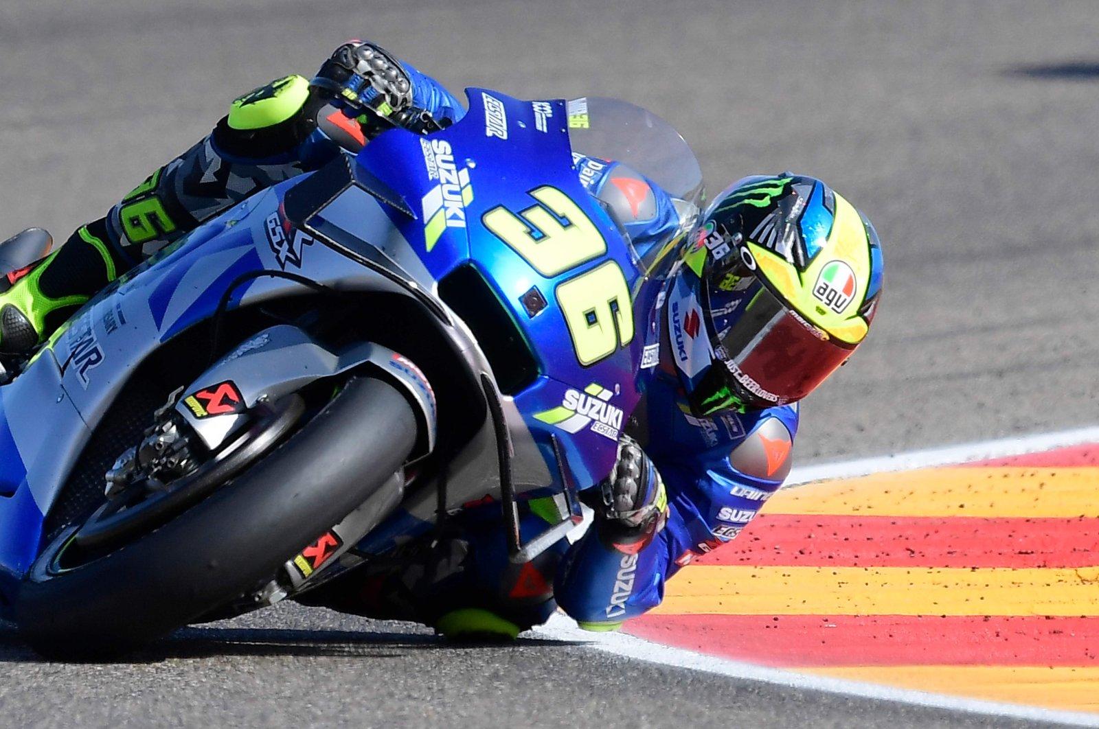 Suzuki rider Joan Mir steers during the Aragon GP race in Alcaniz, Spain, Oct. 18, 2020. (AFP Photo)